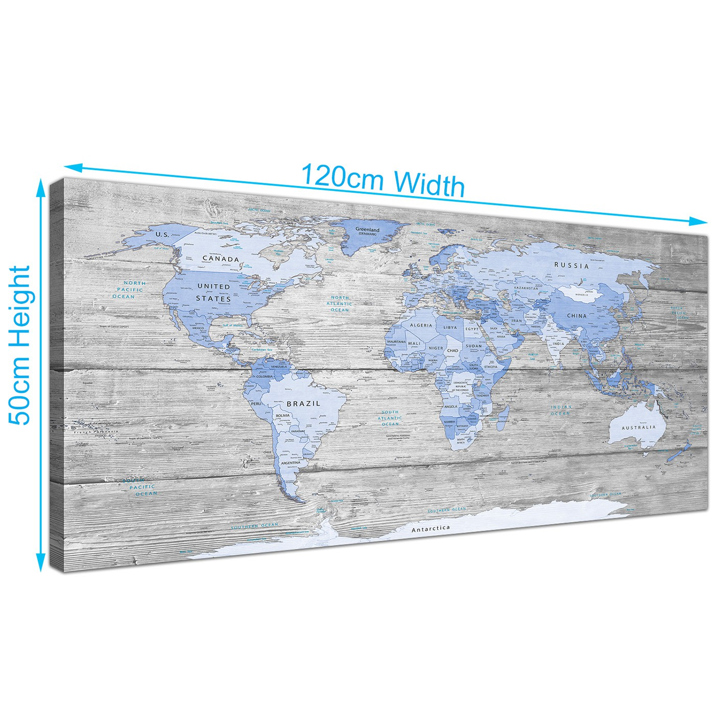 Large blue grey map of world atlas maps canvas modern 120cm wide 1303 display gallery item 4 gumiabroncs Images