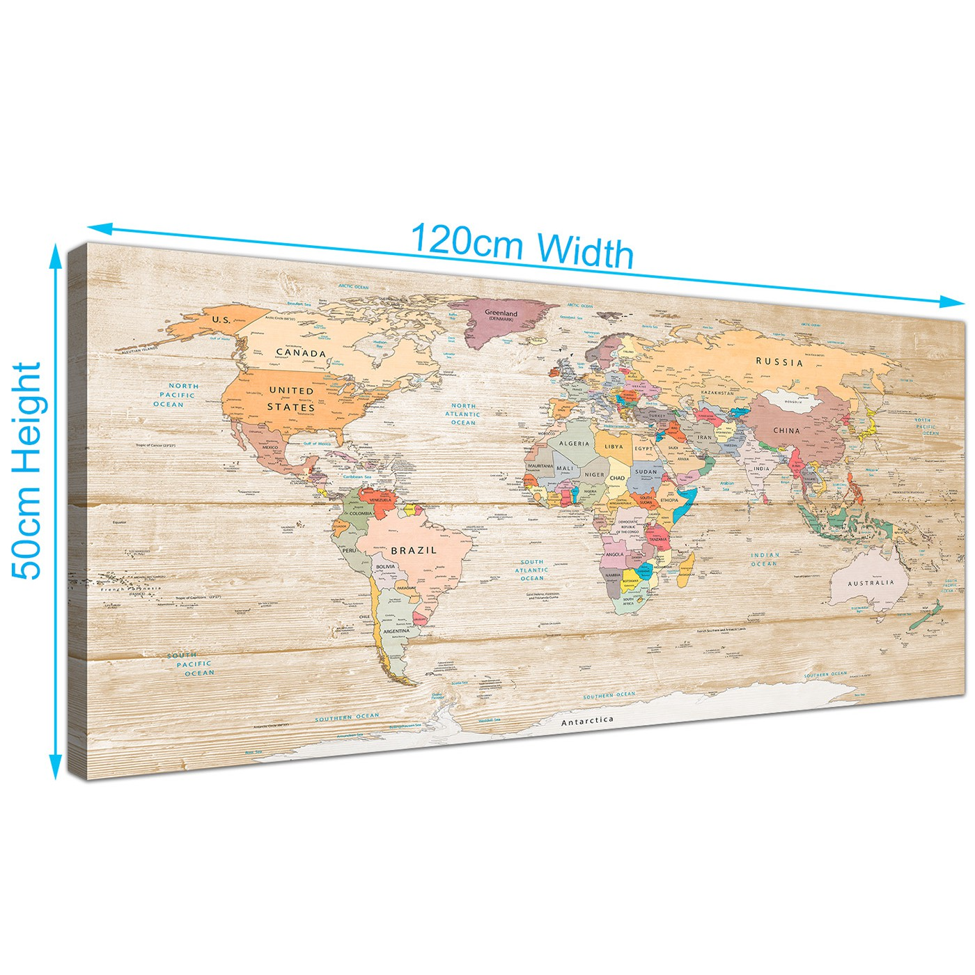 Large map of the world canvas art print colourful cream 120cm display gallery item 3 gumiabroncs Gallery