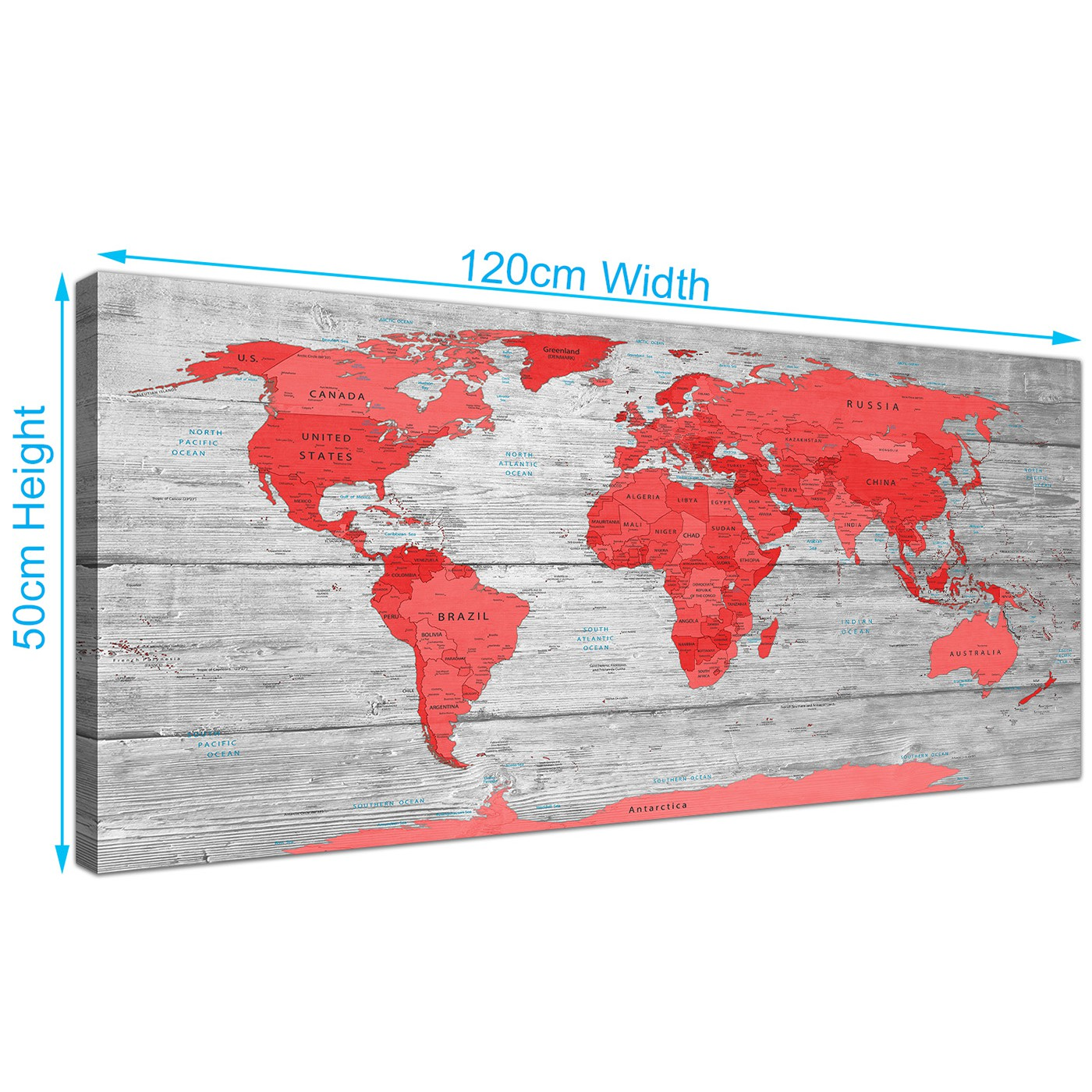 Large Red Grey Map Of The World Atlas Canvas Wall Art