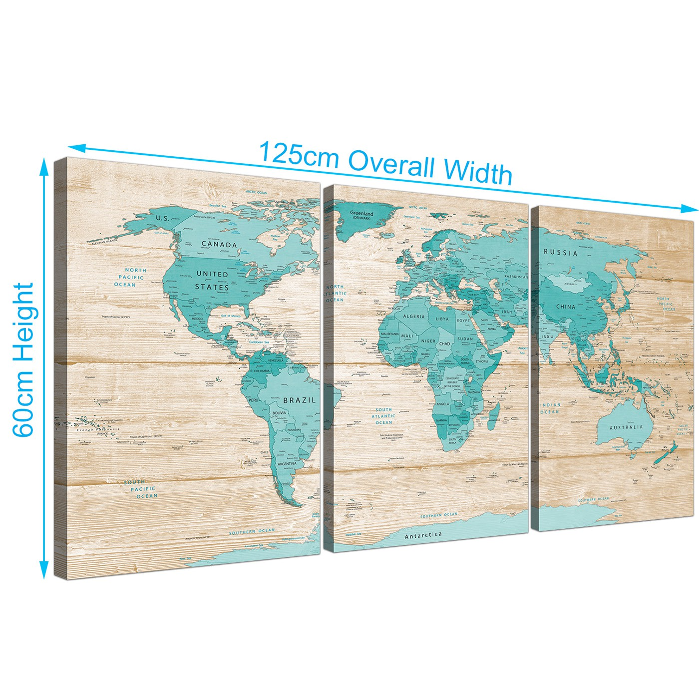 Large Teal Cream Map of World Atlas Canvas Wall Art Prints - Split 3 ...