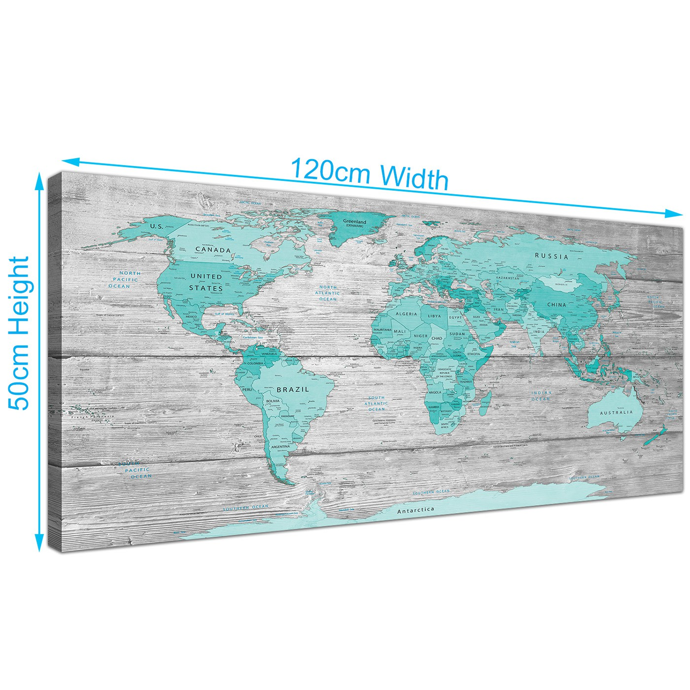 Large teal grey map of world atlas canvas wall art print 120cm wide display gallery item 3 gumiabroncs Gallery