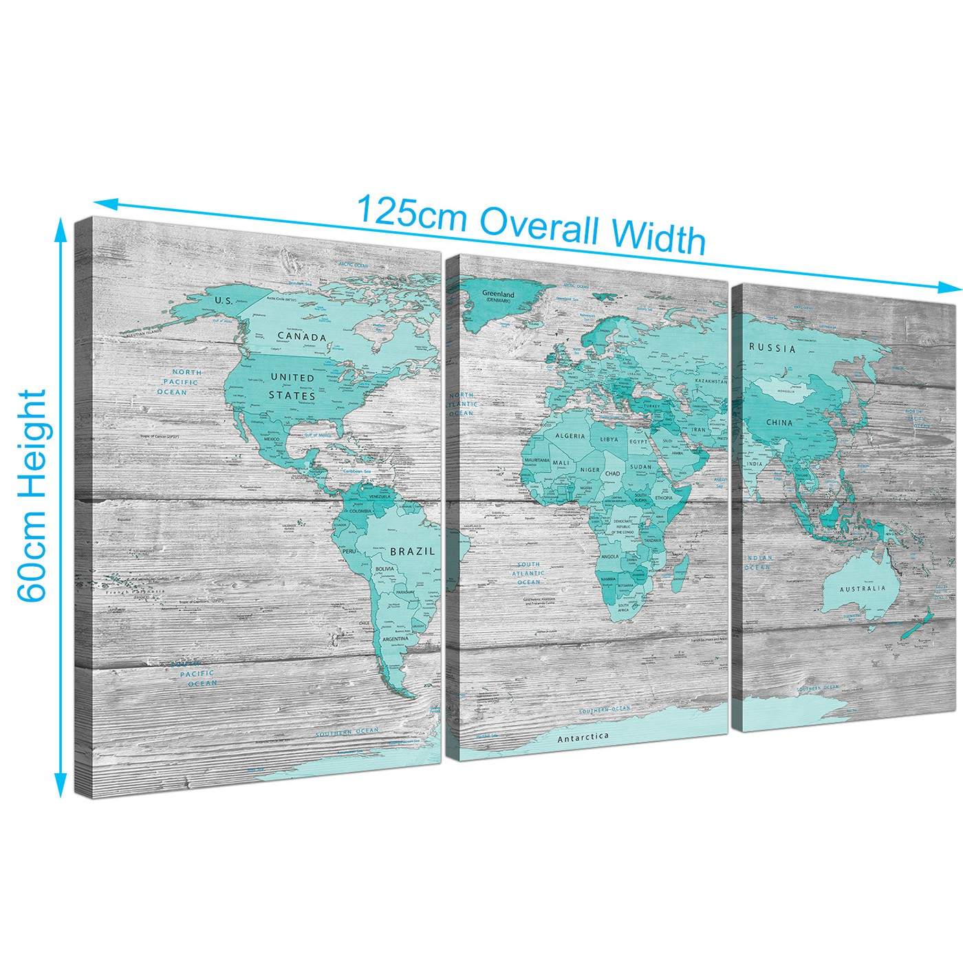 Large teal grey map of world atlas canvas print multi 3 panel 3299 panoramic large teal grey map of world atlas maps canvas split 3 part 3299 for your display gallery item 3 cheap large teal grey map of world atlas gumiabroncs Image collections