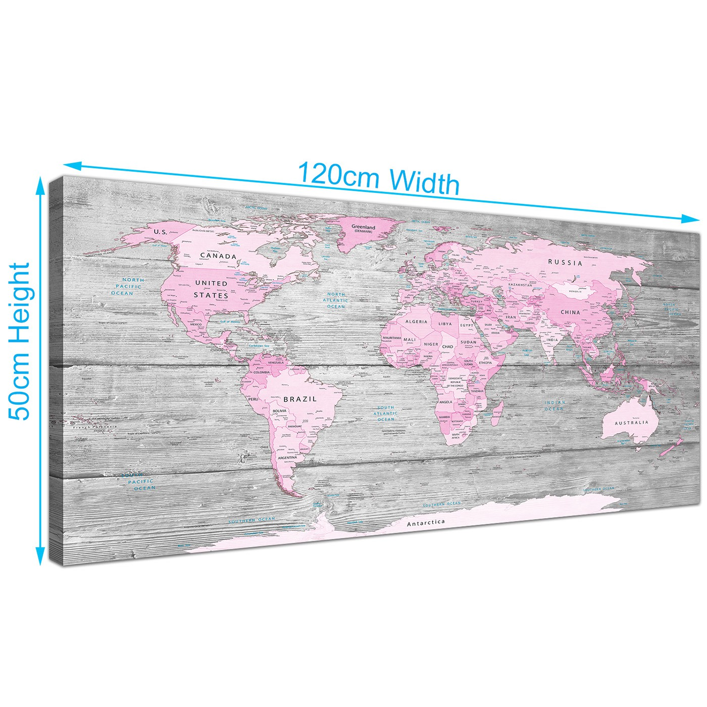 Large Pink Grey Map Of World Atlas Canvas Wall Art Print Maps - Cheap large maps