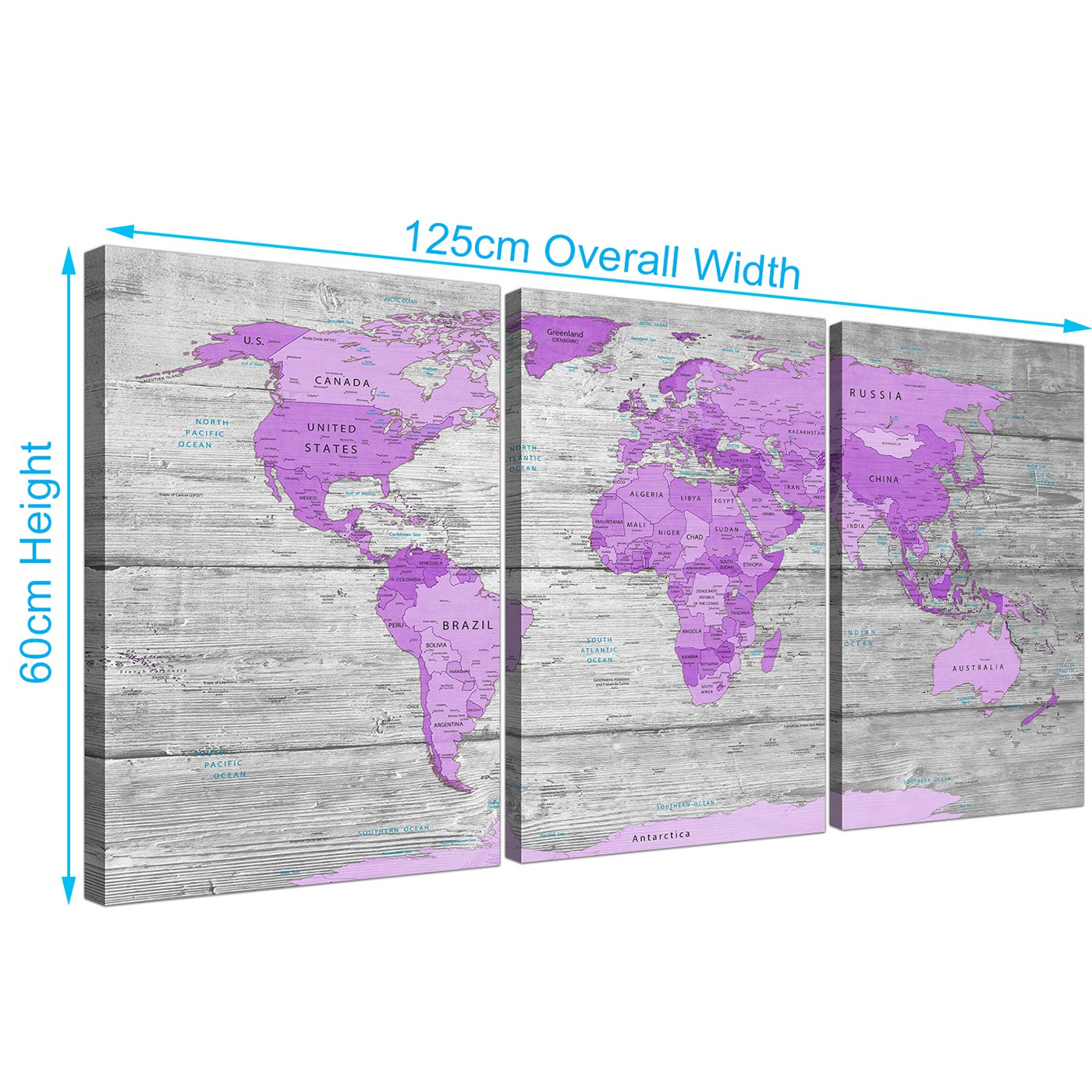3 Panel Split Art World Map Canvas Print Triptych For: Large Purple And Grey Map Of World Atlas Canvas Wall Art