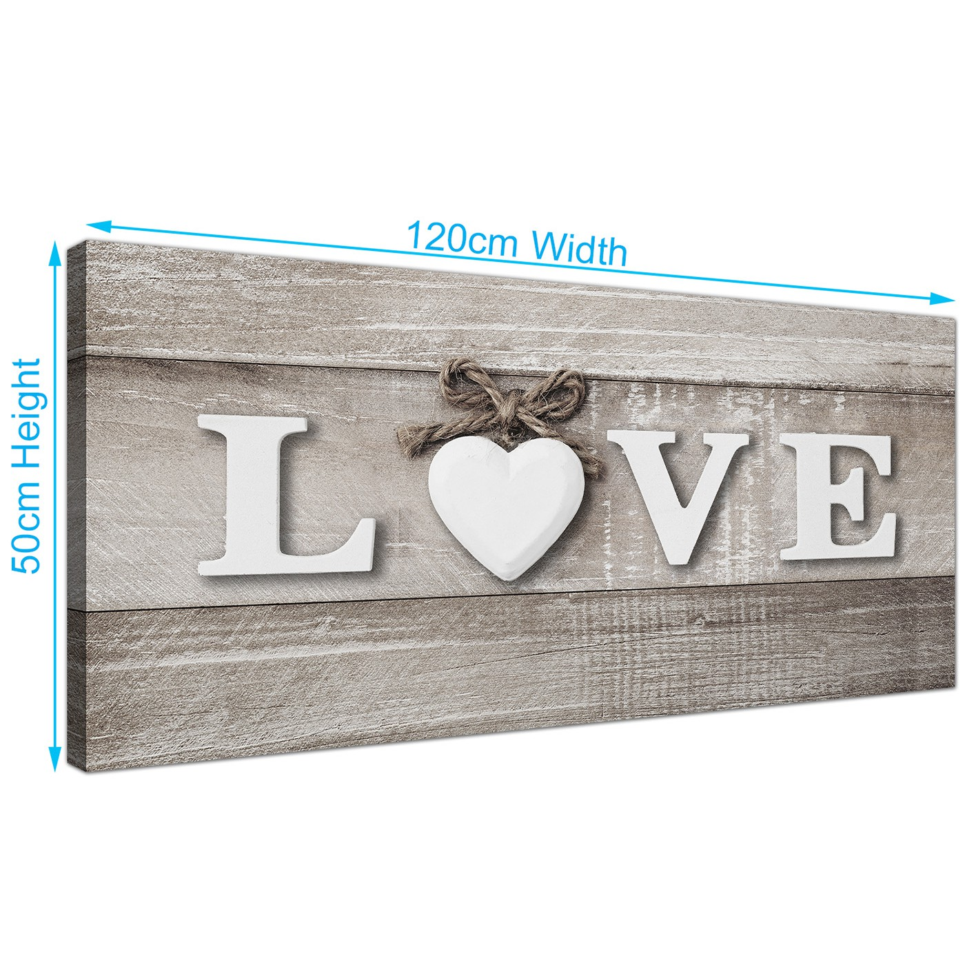 Display Gallery Item 3; Contemporary Shabby Chic Love Quote Grey Canvas  Modern 120cm Wide 1297 For Your Kitchen