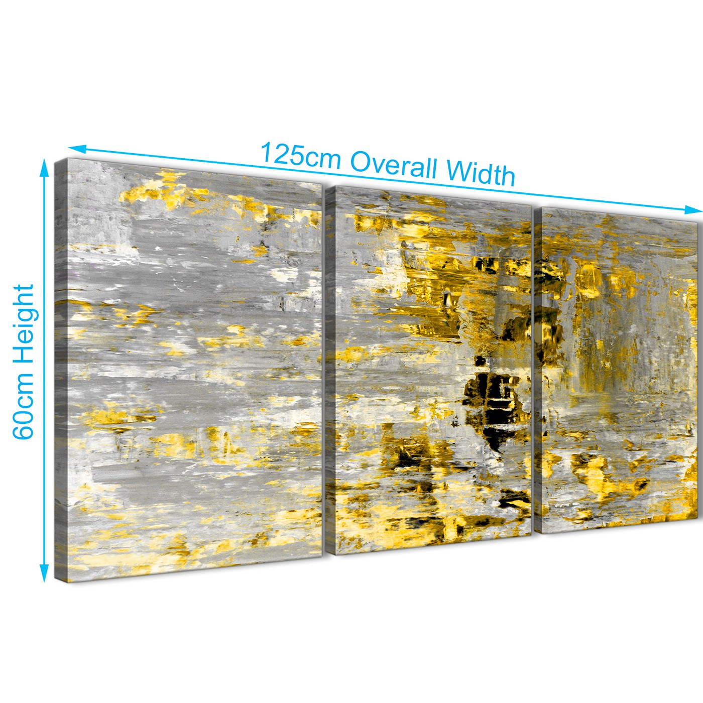 Yellow Abstract Painting Wall Art Print Canvas - Multi Set of 3 ...