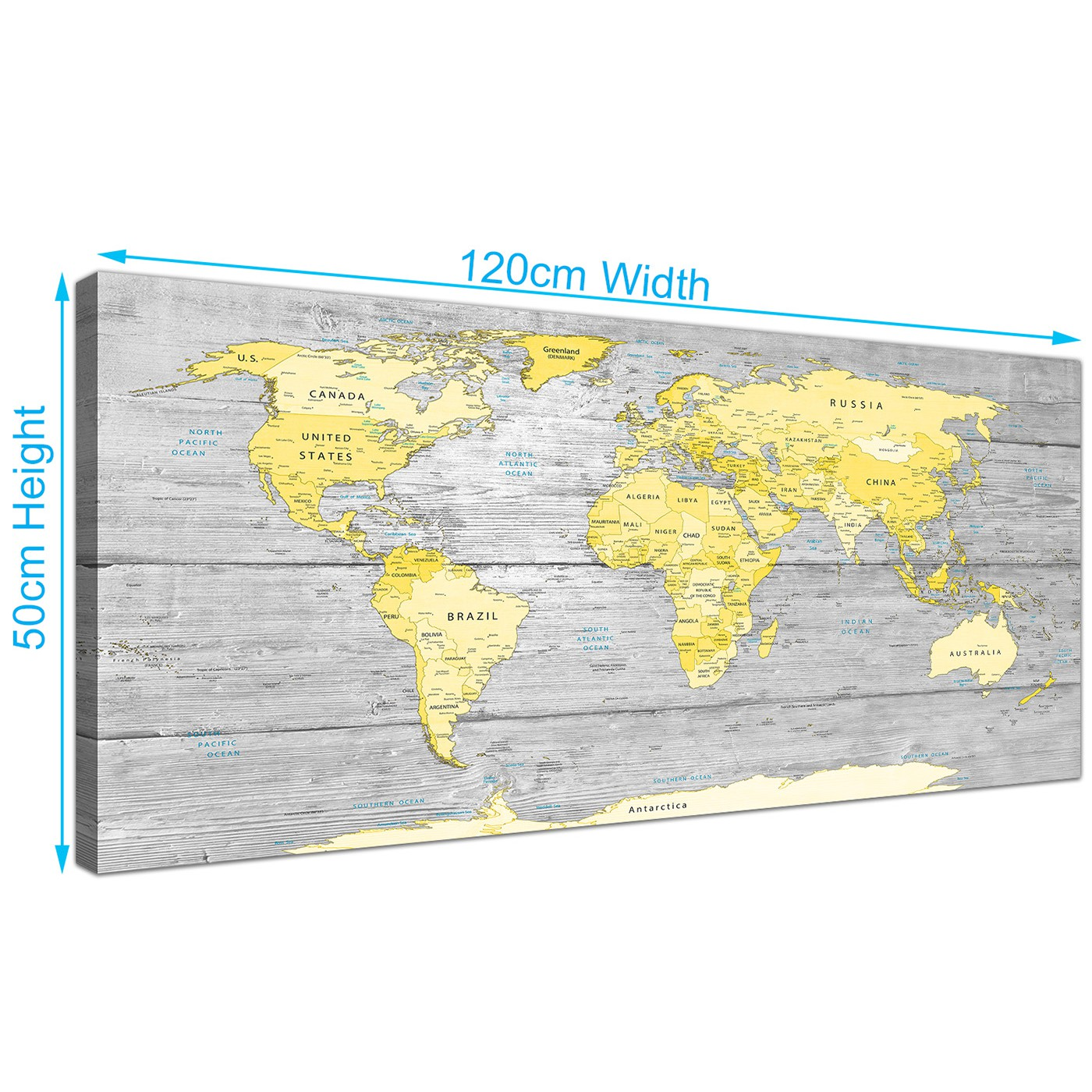 Large Yellow Grey Map of World Atlas Canvas Wall Art Print - Maps ...