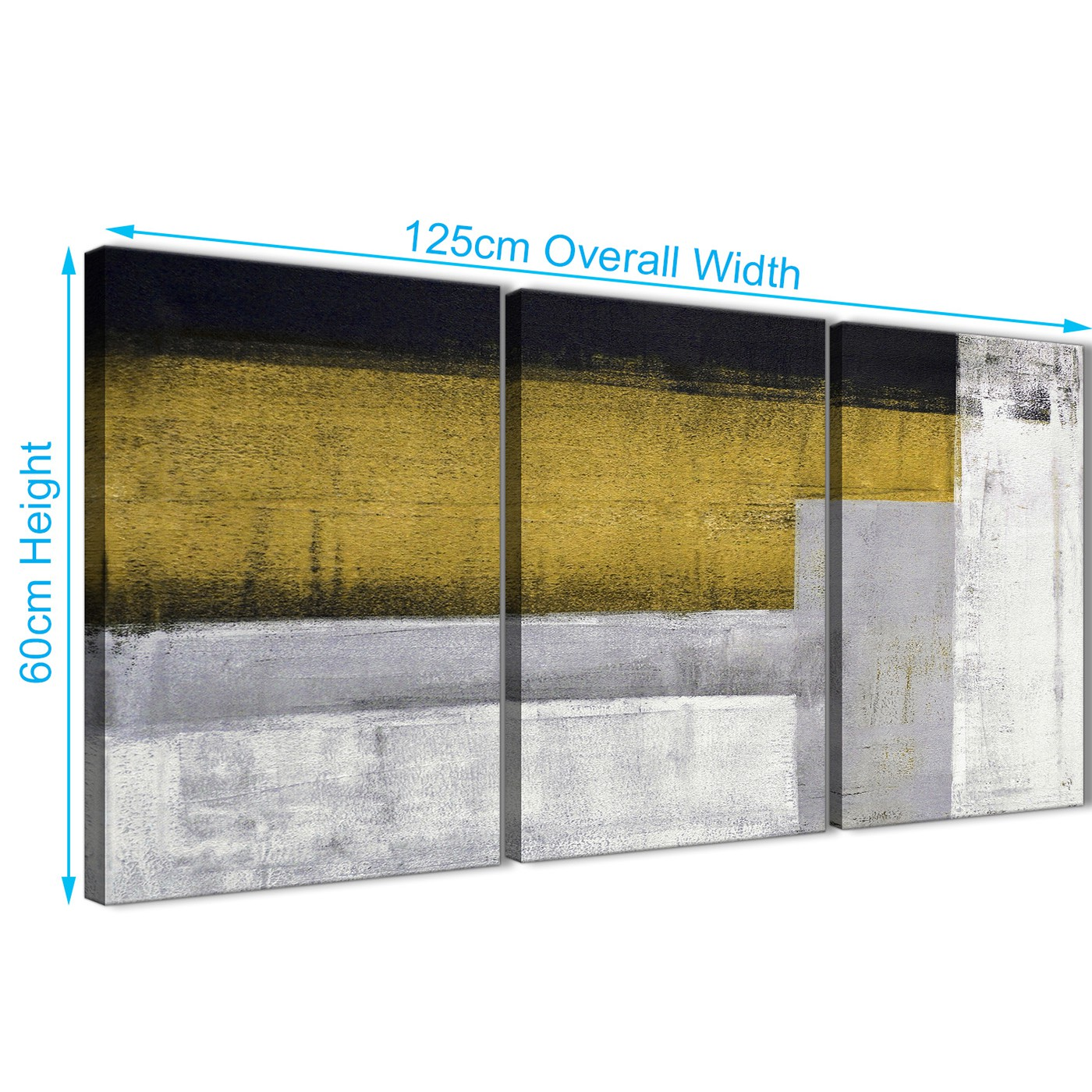 3 Panel Mustard Yellow Grey Painting Kitchen Canvas Wall Art ...