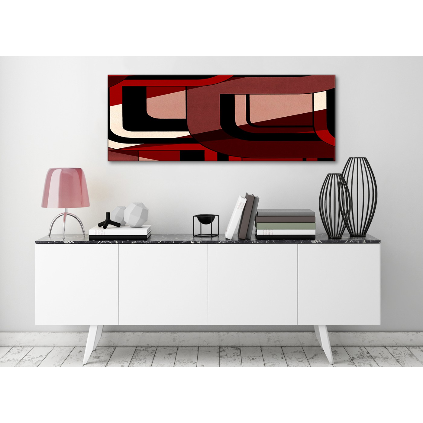 Red Black Painting Living Room Canvas Wall Art Accessories ...