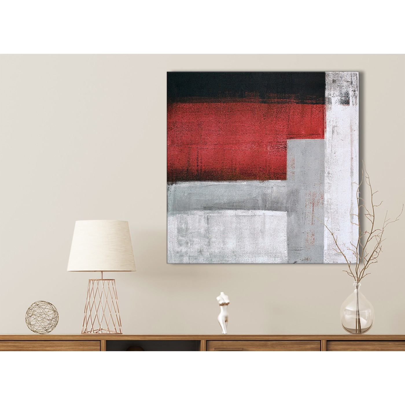 Red Grey Painting Bathroom Canvas Pictures Accessories