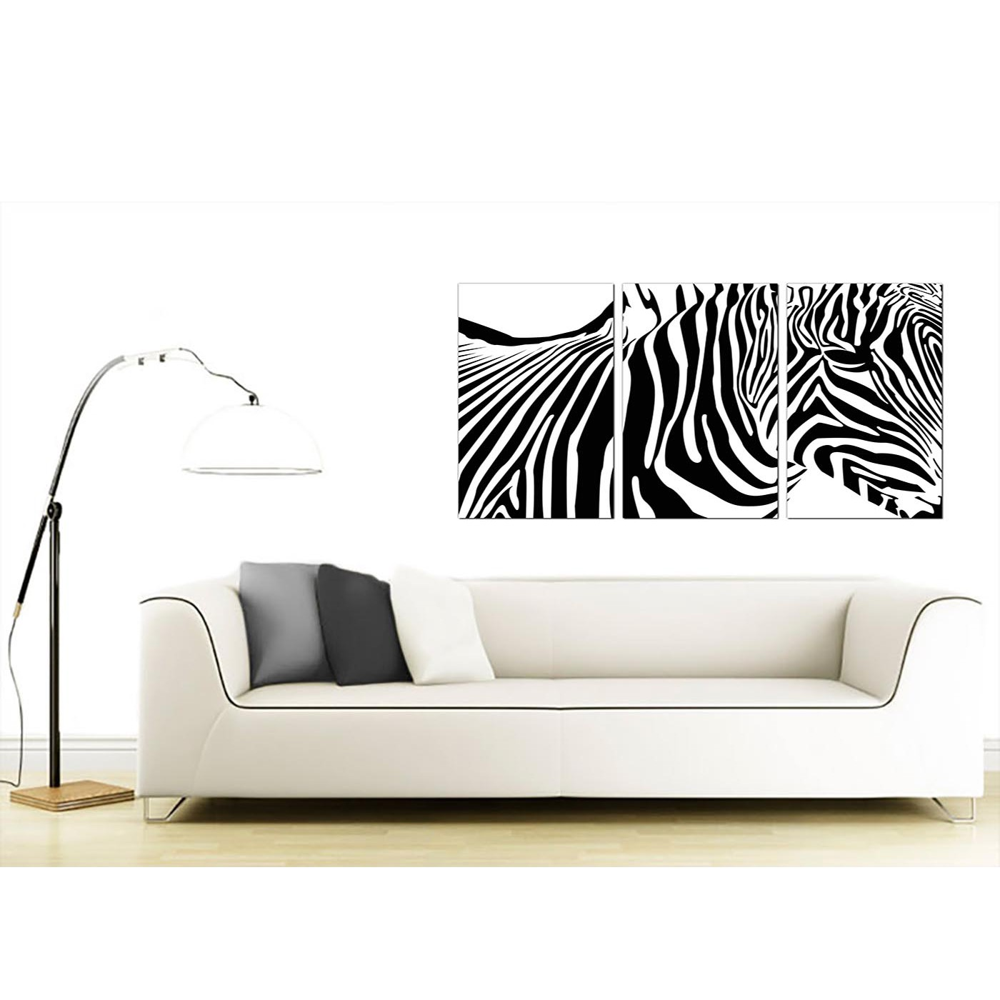 Zebra Canvas Pictures 3 Panel for your Dining Room