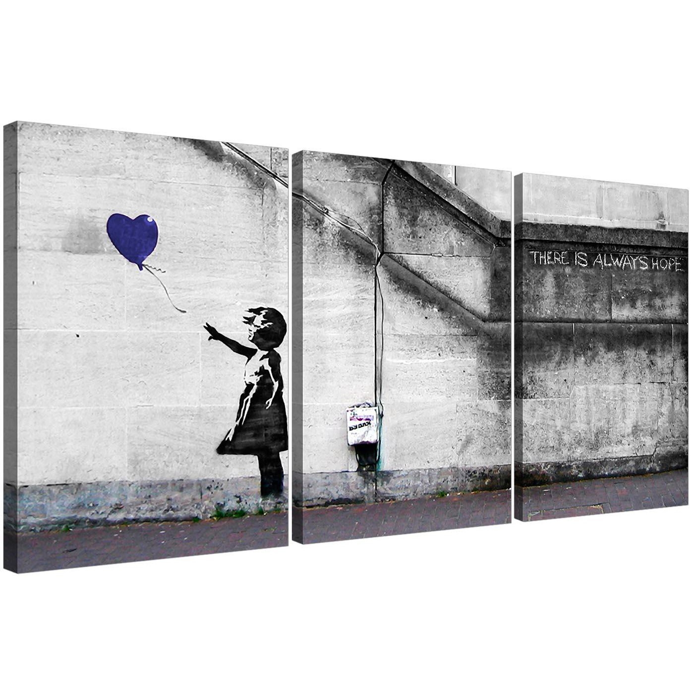 Banksy Balloon Girl Canvas Wall Art Set Of Three For Your Boys Bedroom