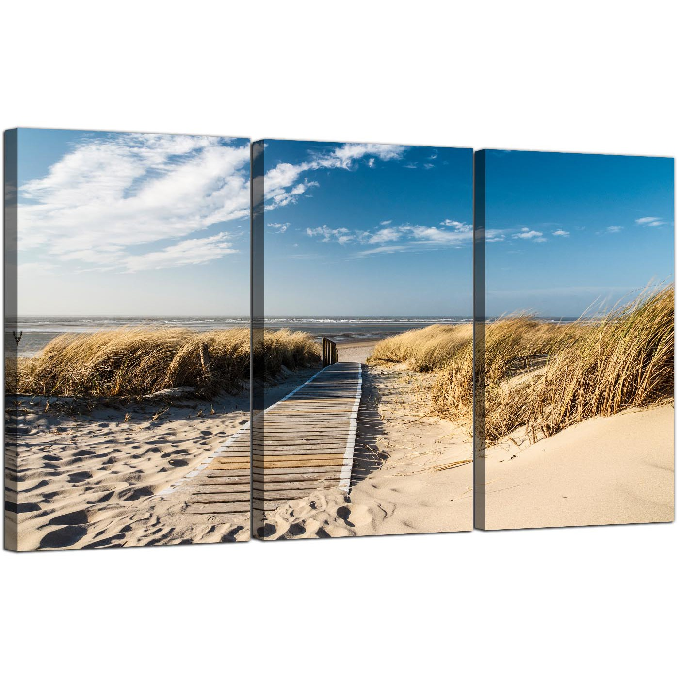 large beach canvas art set of three for your bathroom