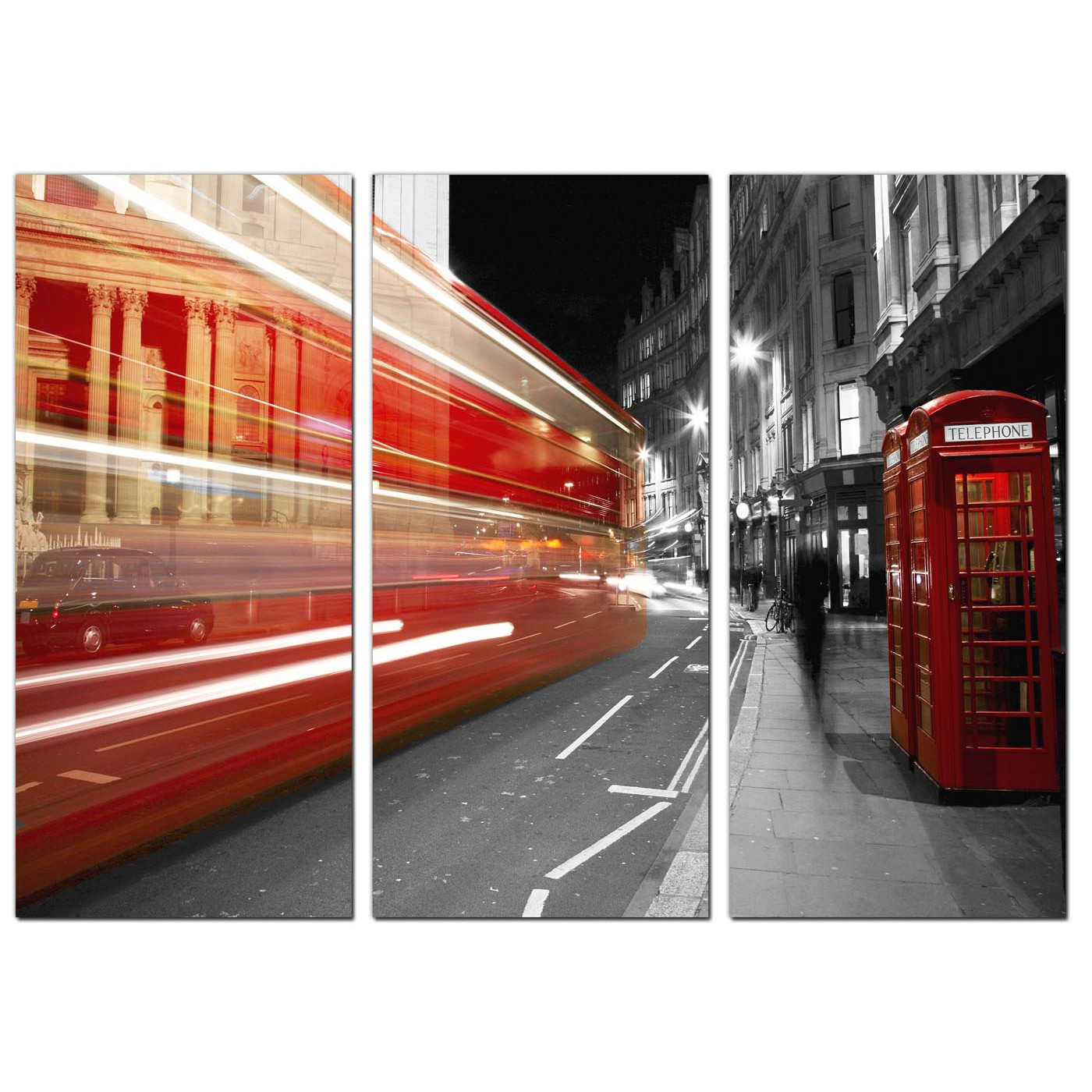 red london bus canvas prints uk set of 3 for your study