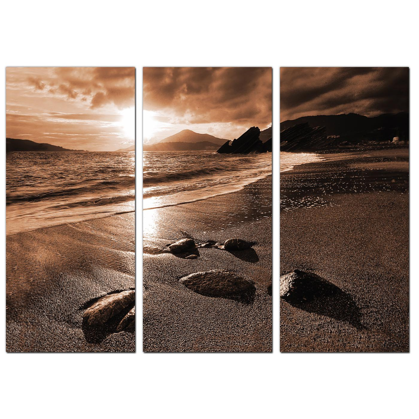 Display Gallery Item 2; 3 Panel Sepia Canvas Prints UK Hallway 3076 Display Gallery Item 3 ...  sc 1 st  Wallfillers & Beach Sunset Canvas Art Set of 3 for your Hallway
