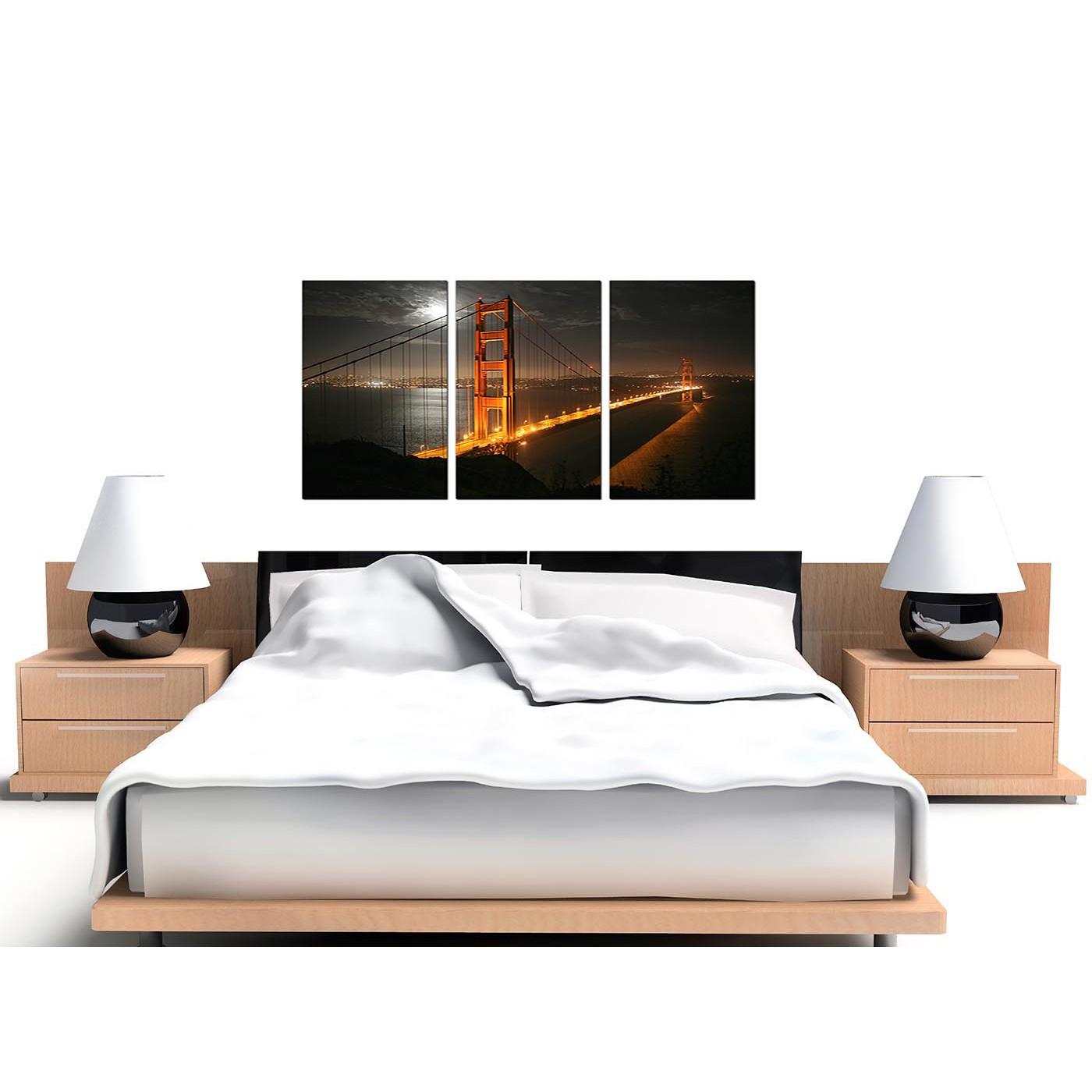 Golden Framed Art Over Bed