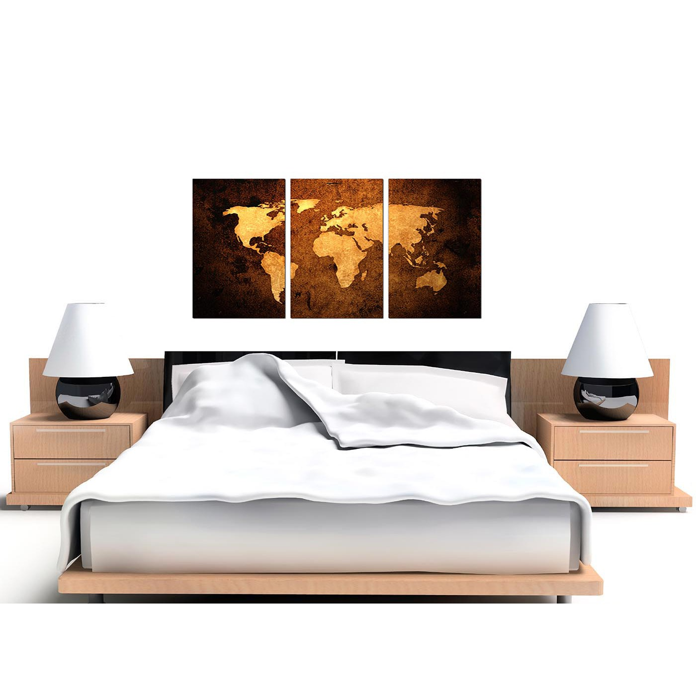Vintage world map canvas wall art set of 3 for your bedroom display gallery item 1 3 part vintage map canvas prints uk gumiabroncs Image collections