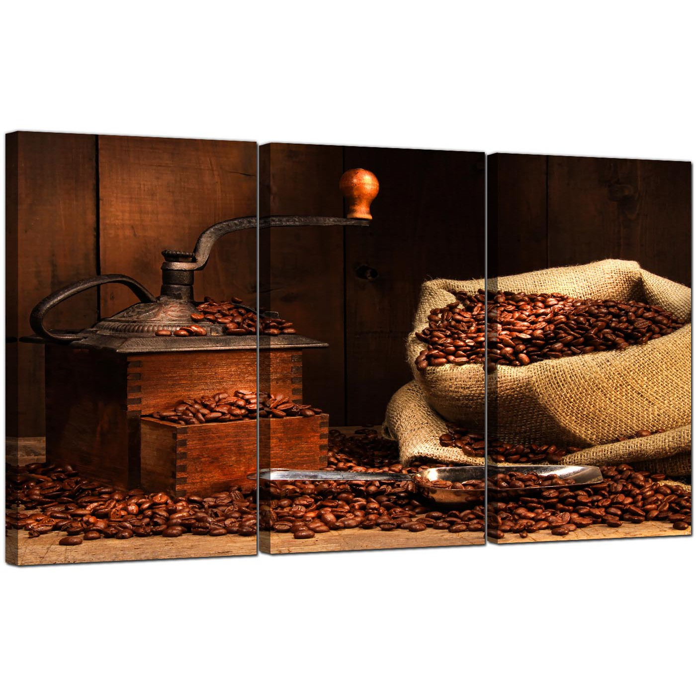 Display Gallery Item 5; Set Of Three Food U0026 Drink Canvas Pictures Coffee  Beans 3062 Display Gallery Item 6