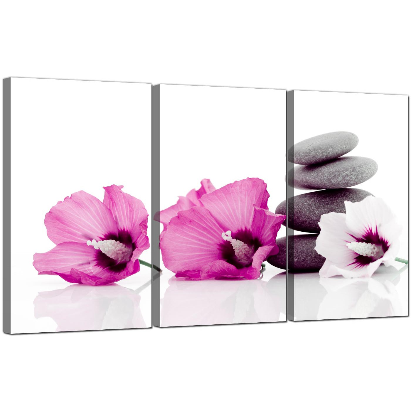 Display Gallery Item 5; 3 Panel Floral Canvas Art Hibiscus 3069 Display  Gallery Item 6