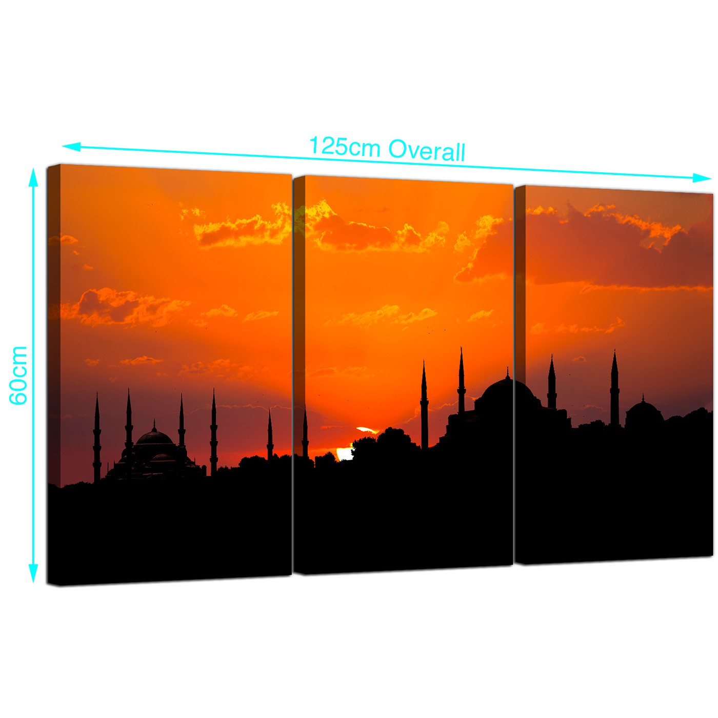 Display Gallery Item 1; 3 Part Blue Mosque Canvas Art 125cm x 60cm 3205 Display Gallery Item 2 ...  sc 1 st  Wallfillers & Cheap Islamic Istanbul Sunset Canvas Prints Set of 3 for your Bedroom