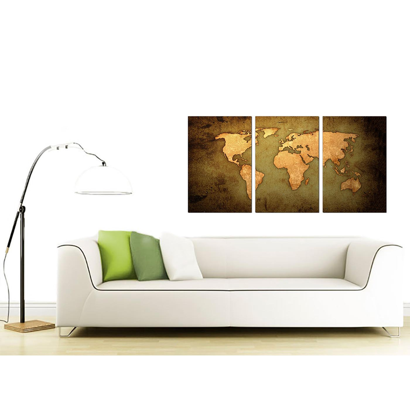 Vintage world map canvas art set of three for your study display gallery item 4 3 panel map canvas prints uk 125cm x 60cm 3189 display gallery item 5 3 panel canvas wall art world gumiabroncs Gallery