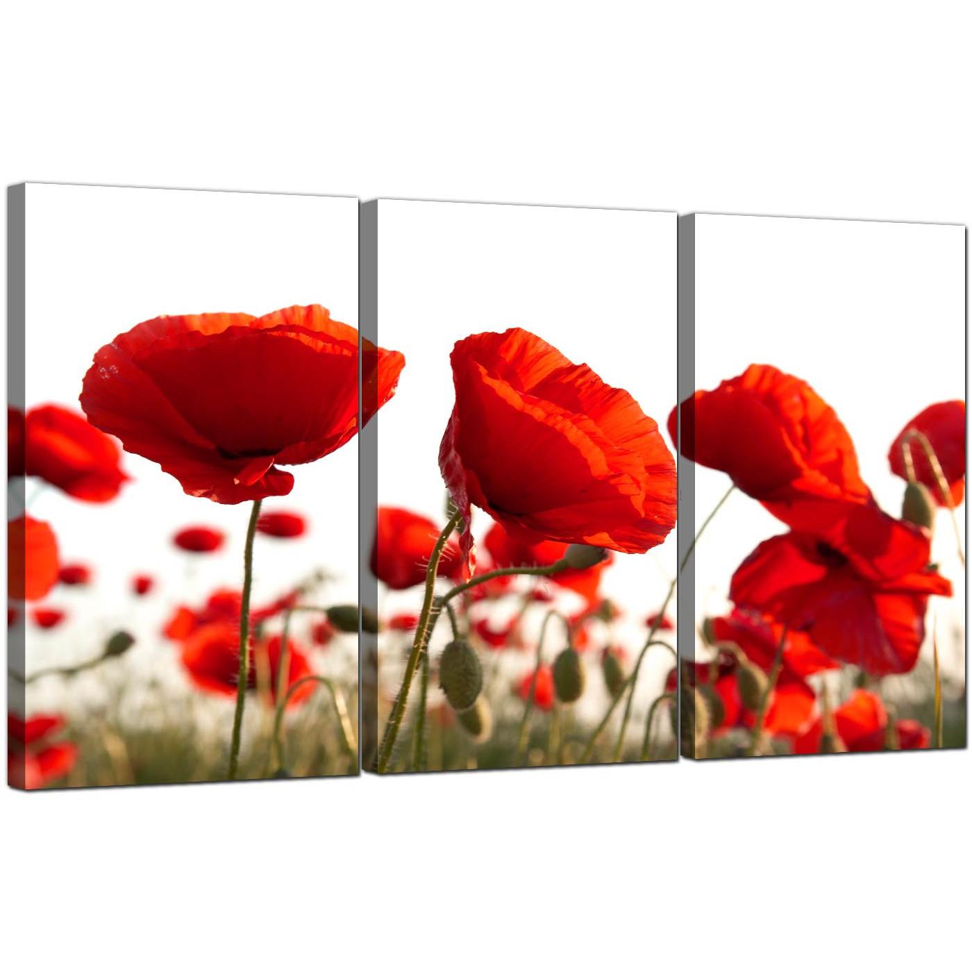 Superior Display Gallery Item 5; Set Of 3 Flowers Canvas Wall Art Poppy 3056 Display  Gallery Item 6