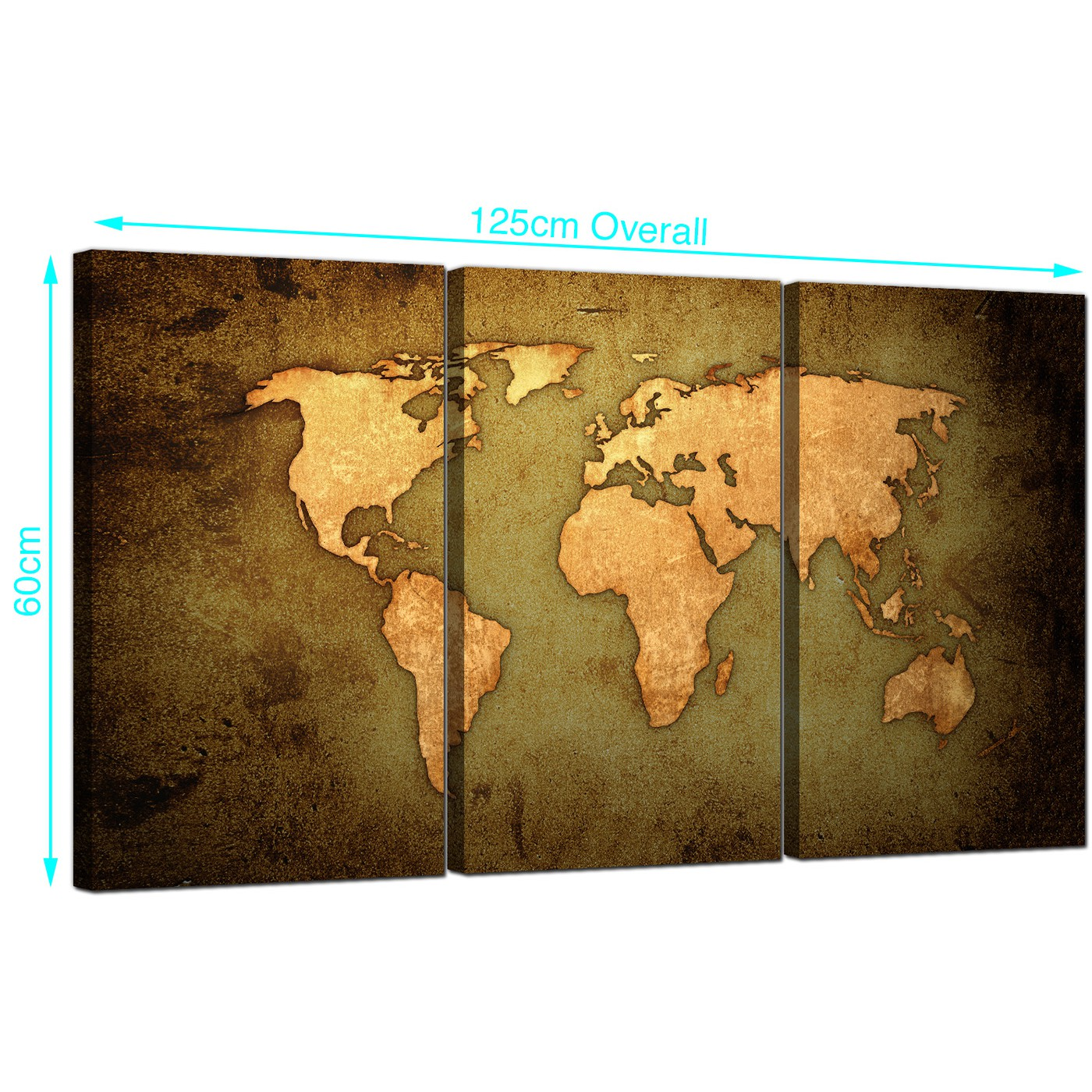 Vintage world map canvas art set of three for your study display gallery item 1 set of three world map canvas prints uk 125cm x 60cm 3189 display gallery item 2 gumiabroncs Image collections