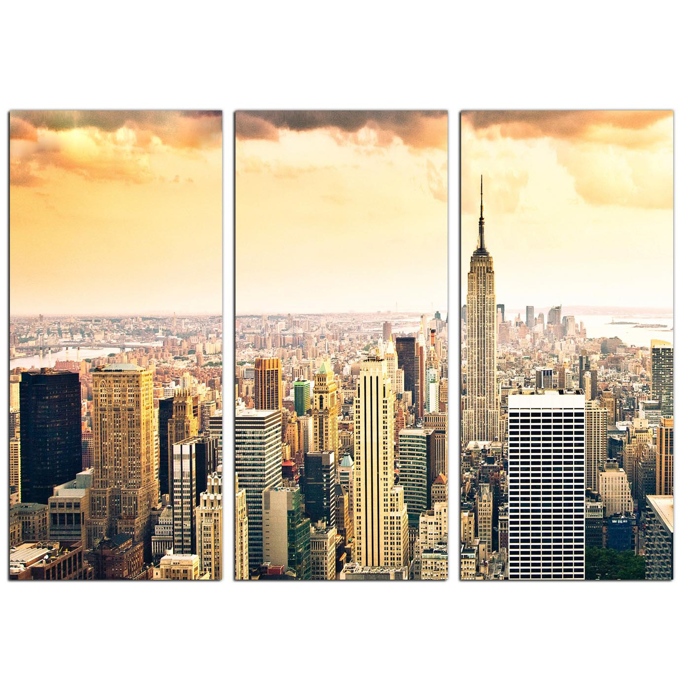 Extra Large New York Skyline Canvas Pictures 3 Panel for your Bedroom