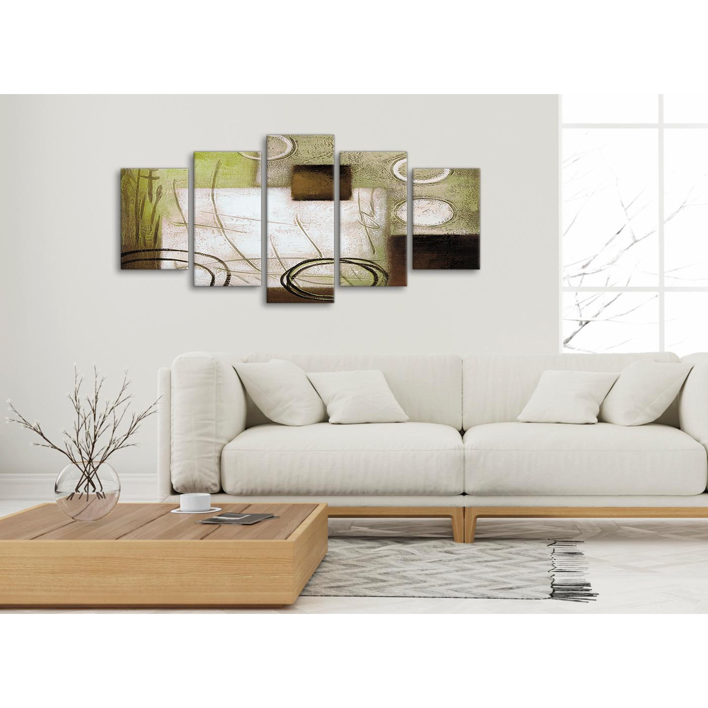 5 Panel Brown Green Painting Abstract Living Room Canvas Wall Art ...