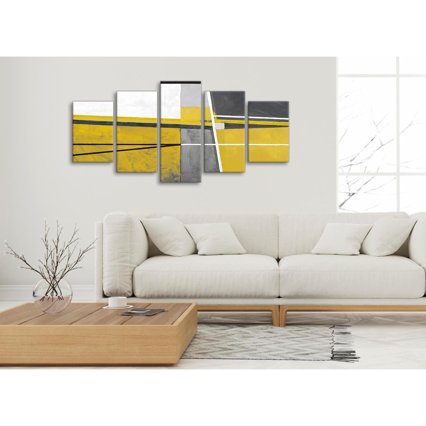 Bedroom Canvas Wall Art Uk: 5 Panel Mustard Yellow Grey Painting Abstract Bedroom