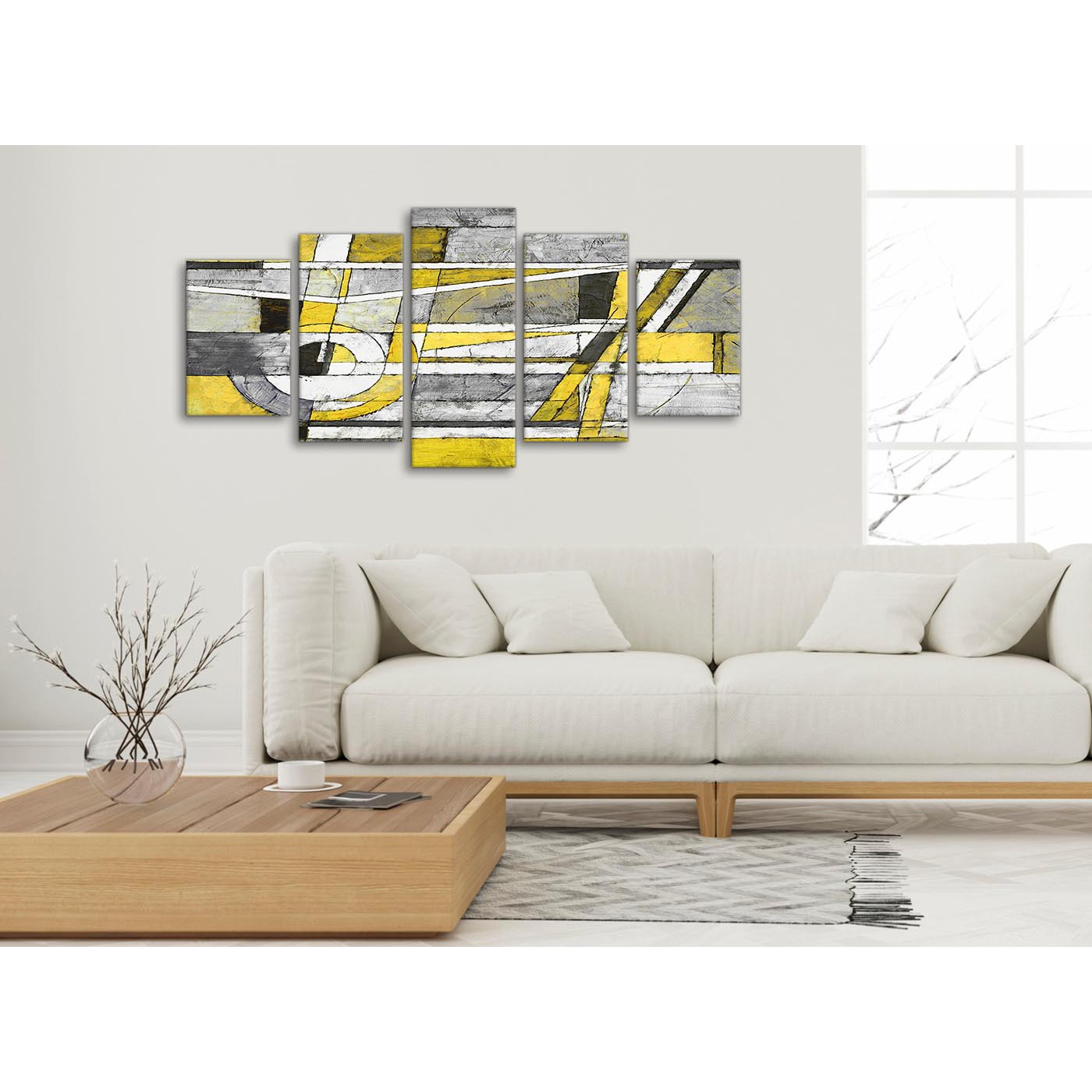 5 Piece Yellow Grey Painting Abstract Living Room Canvas Wall Art ...