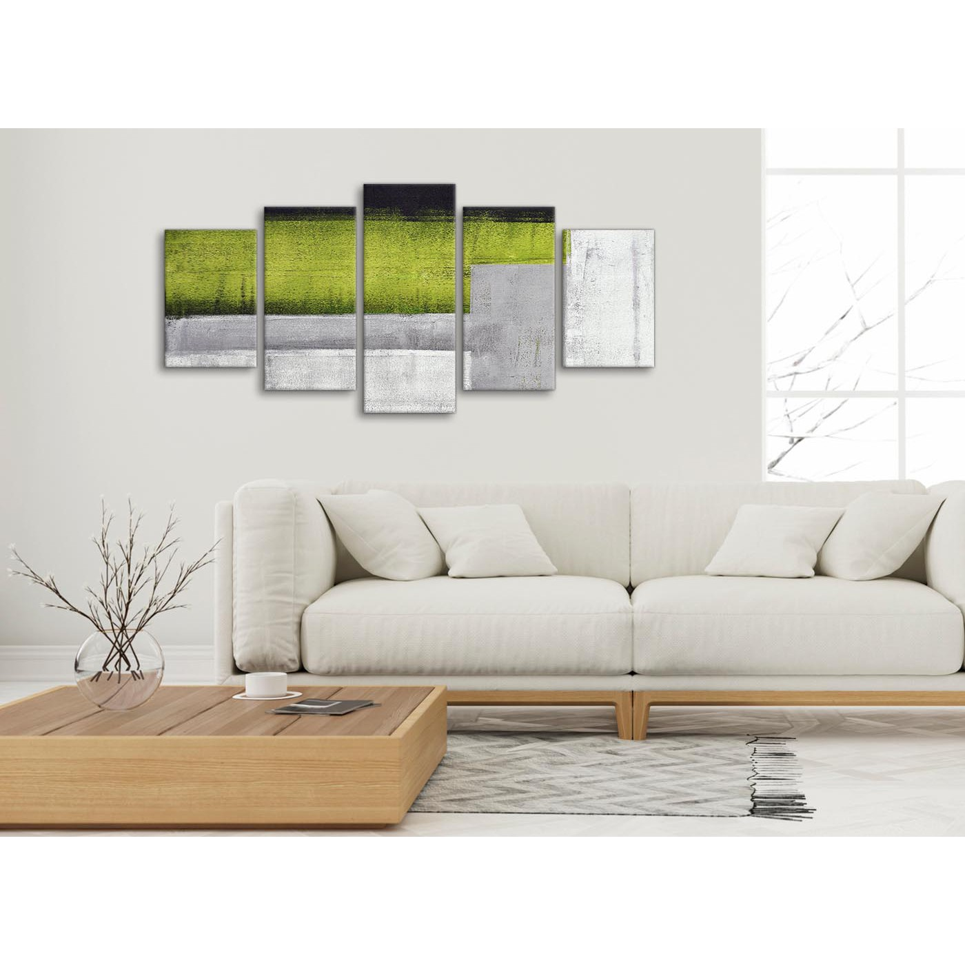 5 Piece Lime Green Grey Painting Abstract Living Room Canvas Wall ...