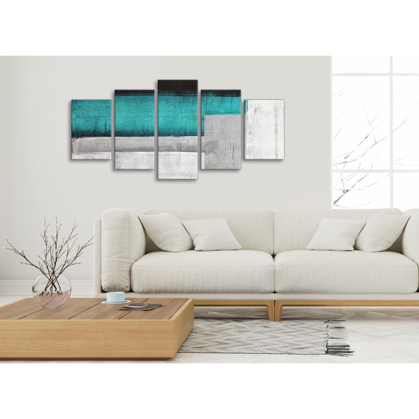 5 Panel Teal Turquoise Grey Painting Abstract Office Canvas Wall Art ...