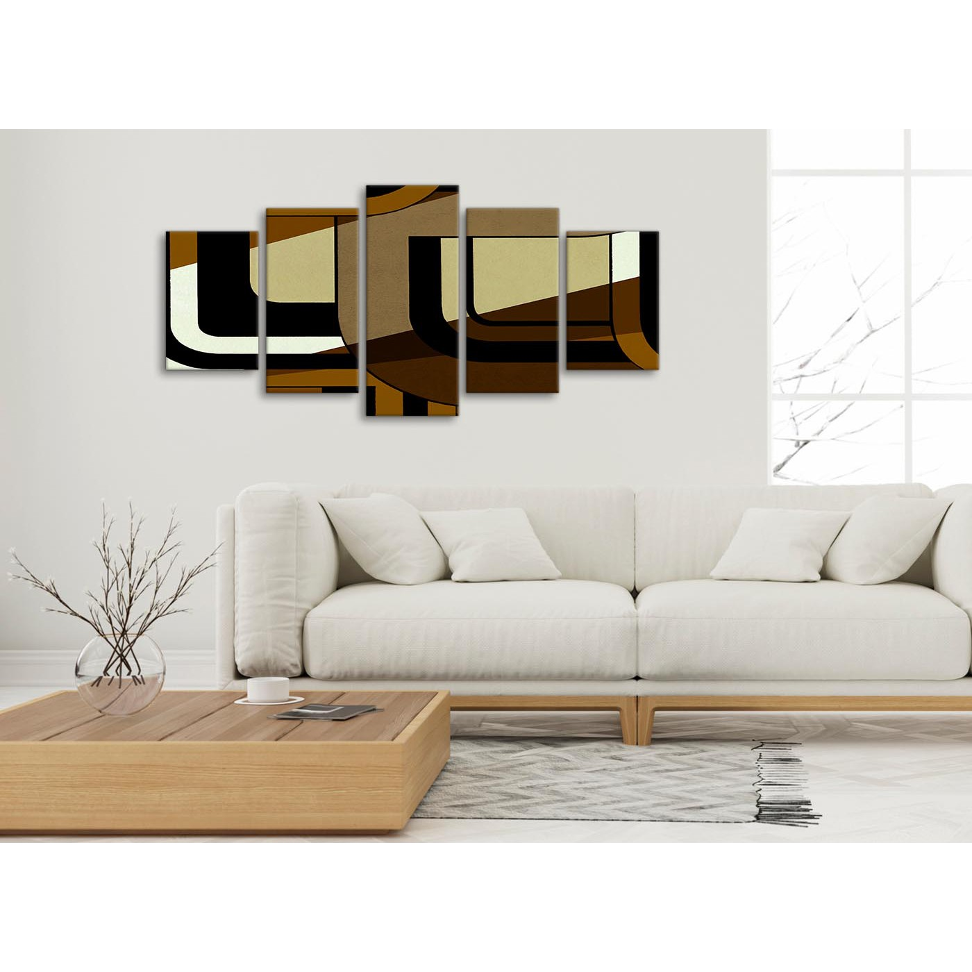 Bedroom Canvas Wall Art Uk: 5 Panel Brown Cream Painting Abstract Living Room Canvas