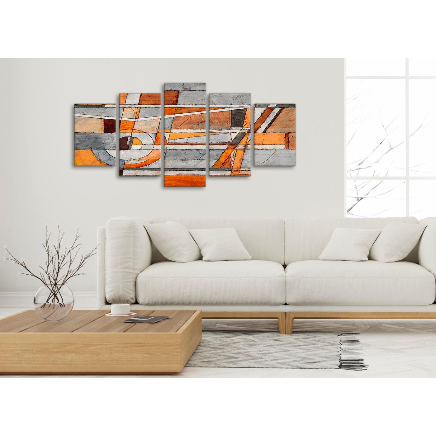 5 Piece Burnt Orange Grey Painting Abstract Office Canvas Wall Art ...