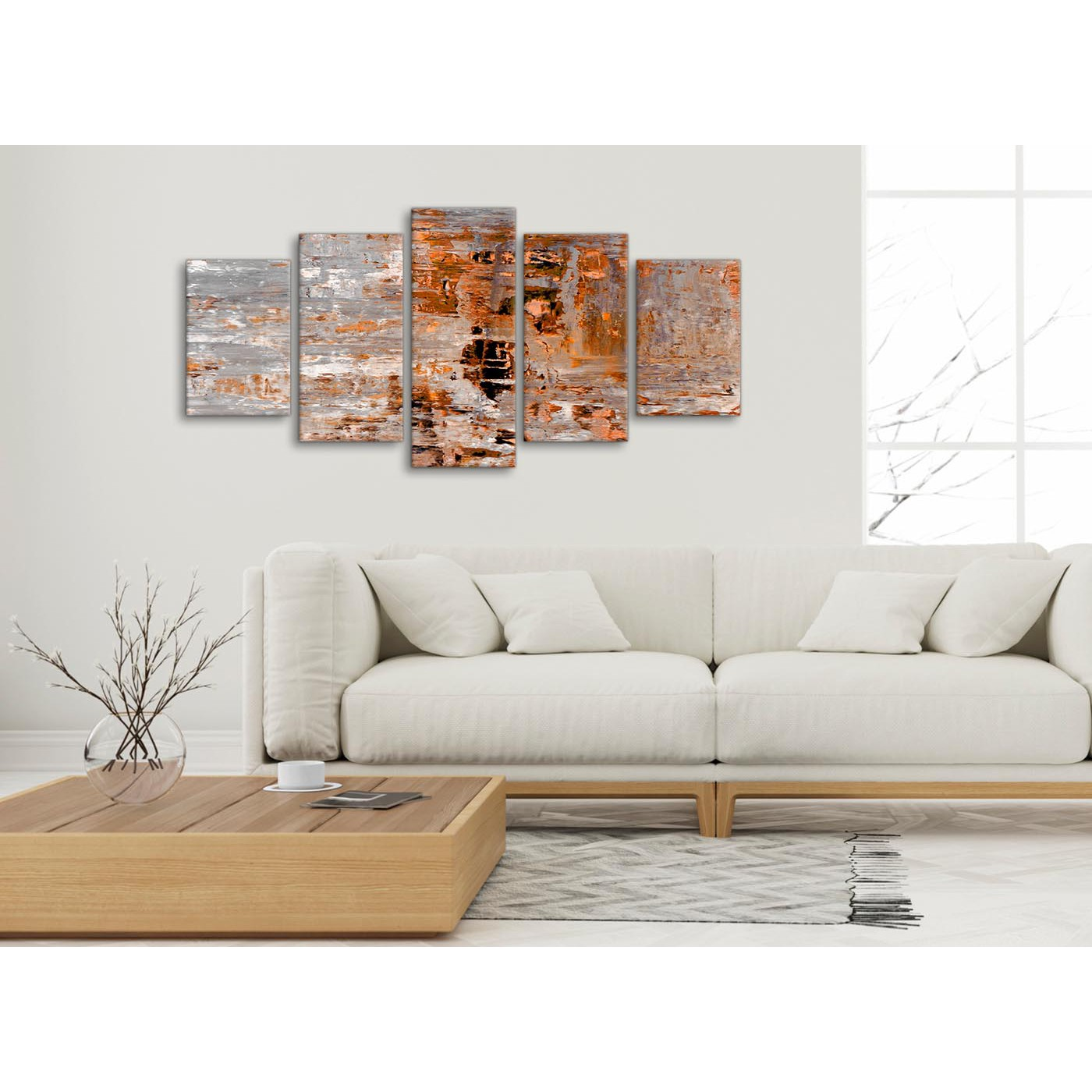 5 Piece Burnt Orange Grey Painting Abstract Bedroom Canvas Pictures ...