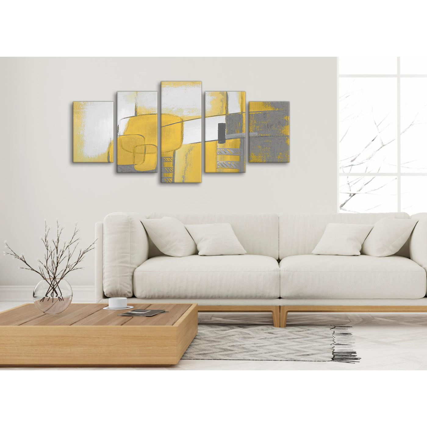 Display gallery item 3 set of 5 panel mustard yellow grey painting abstract bedroom canvas pictures decor 5419 display gallery item 4