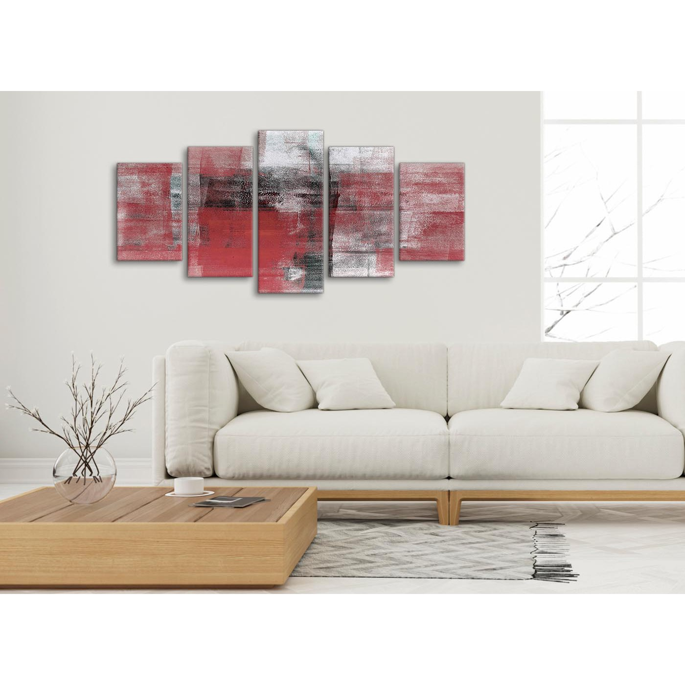 Display Gallery Item 3 Set Of 5 Piece Red Black White Painting Abstract Dining Room Canvas Pictures Decor