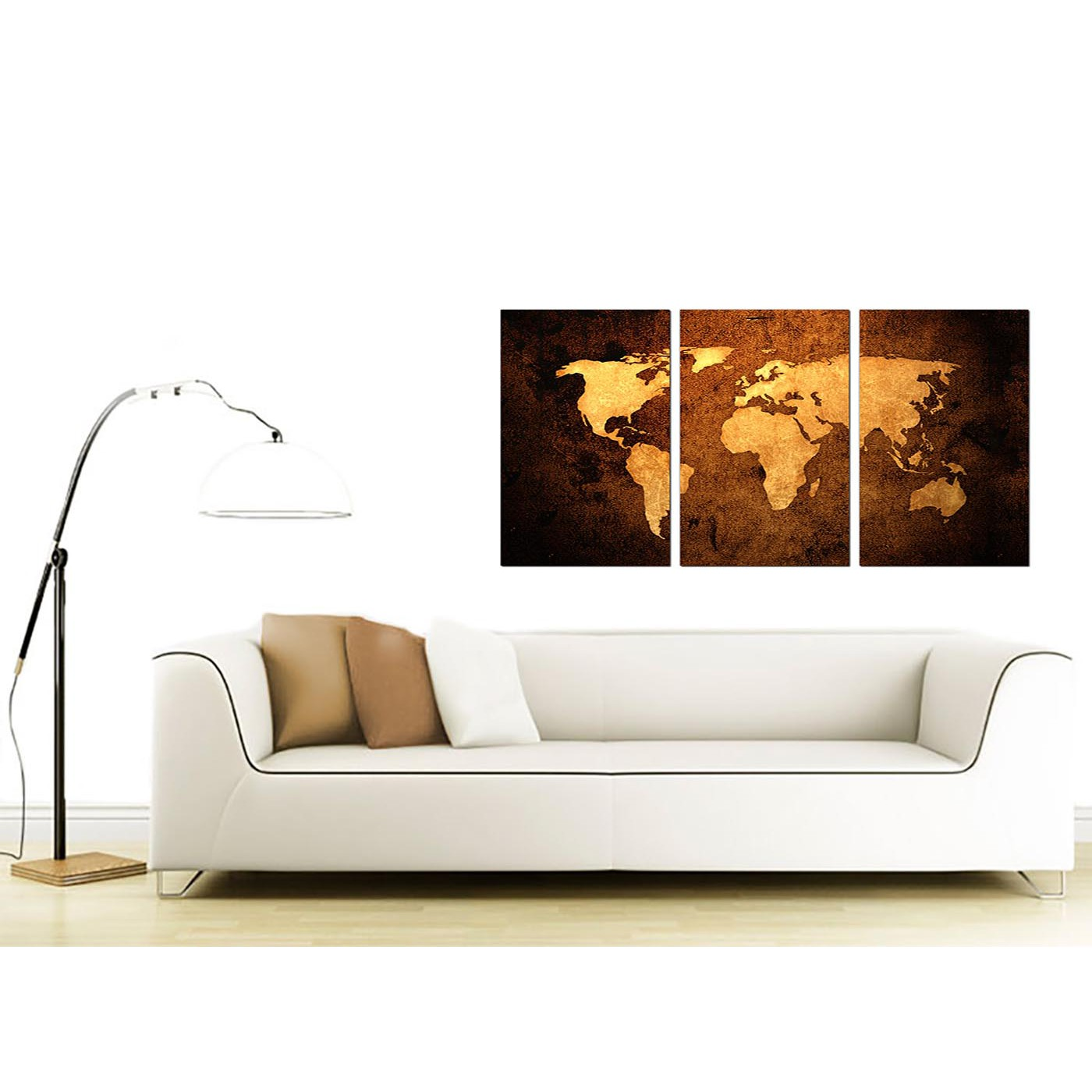 Display Gallery Item 4; 3 Panel World Map Canvas Wall Art 125cm X 60cm 3188  Display Gallery Item 5 ...