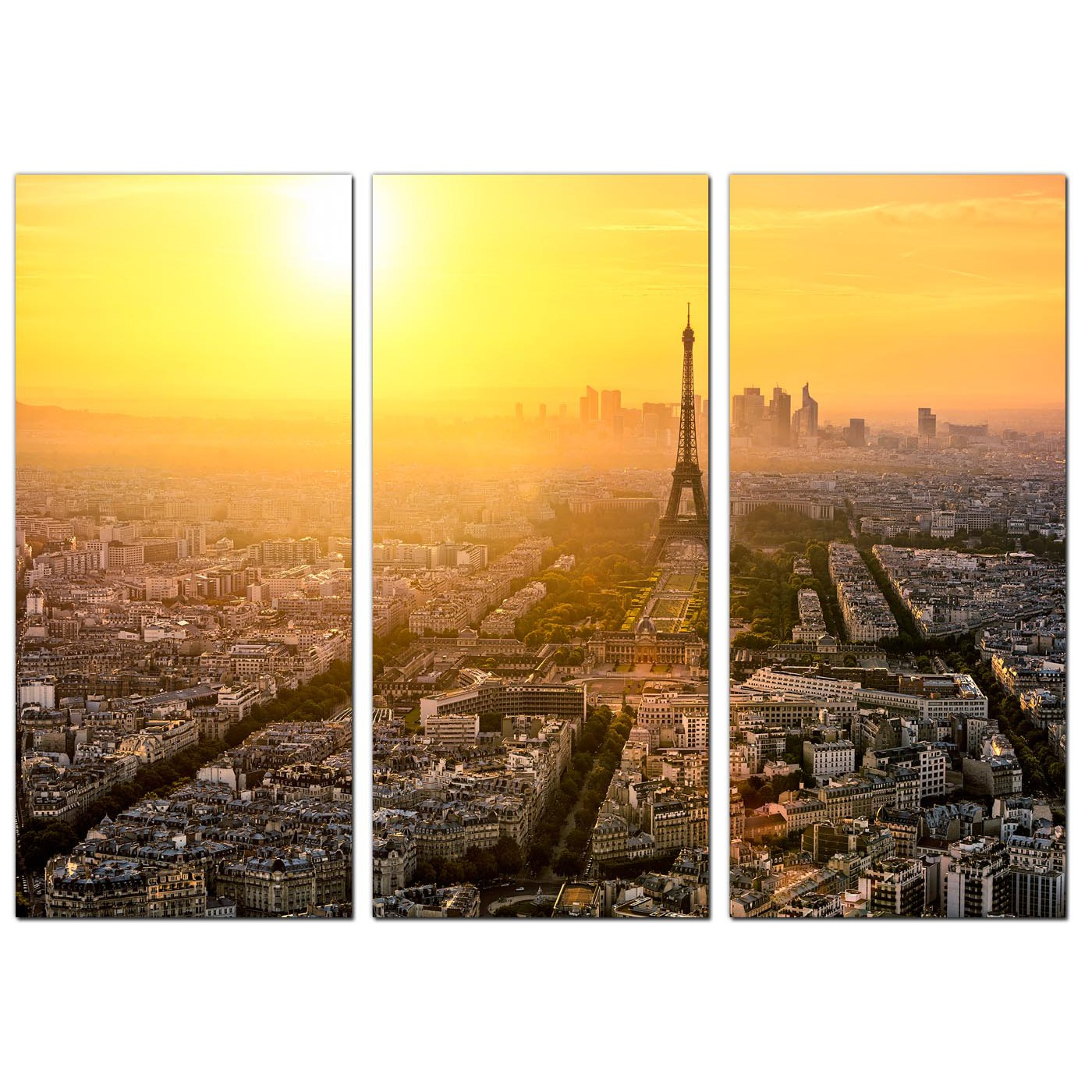 Cheap Paris Skyline Canvas Art Set of Three for your Dining Room