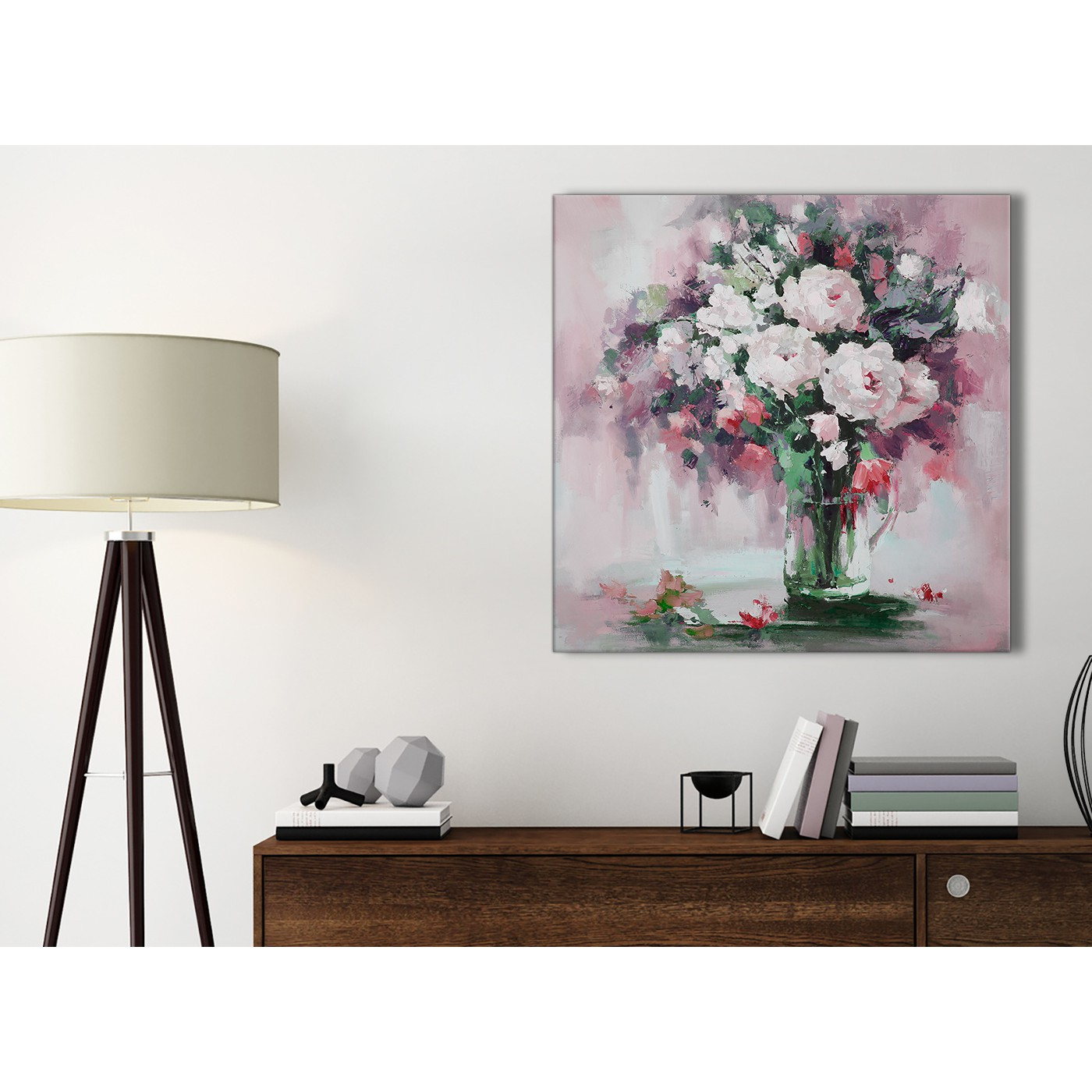 Blush Pink Flowers Painting Bathroom Canvas Pictures ...