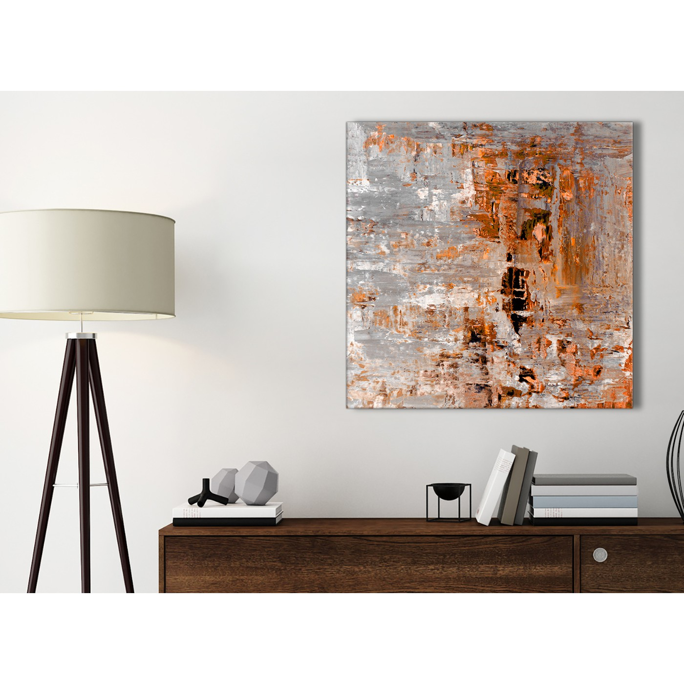 burnt orange grey painting bathroom canvas wall art accessories abstract 1s415s 49cm square. Black Bedroom Furniture Sets. Home Design Ideas