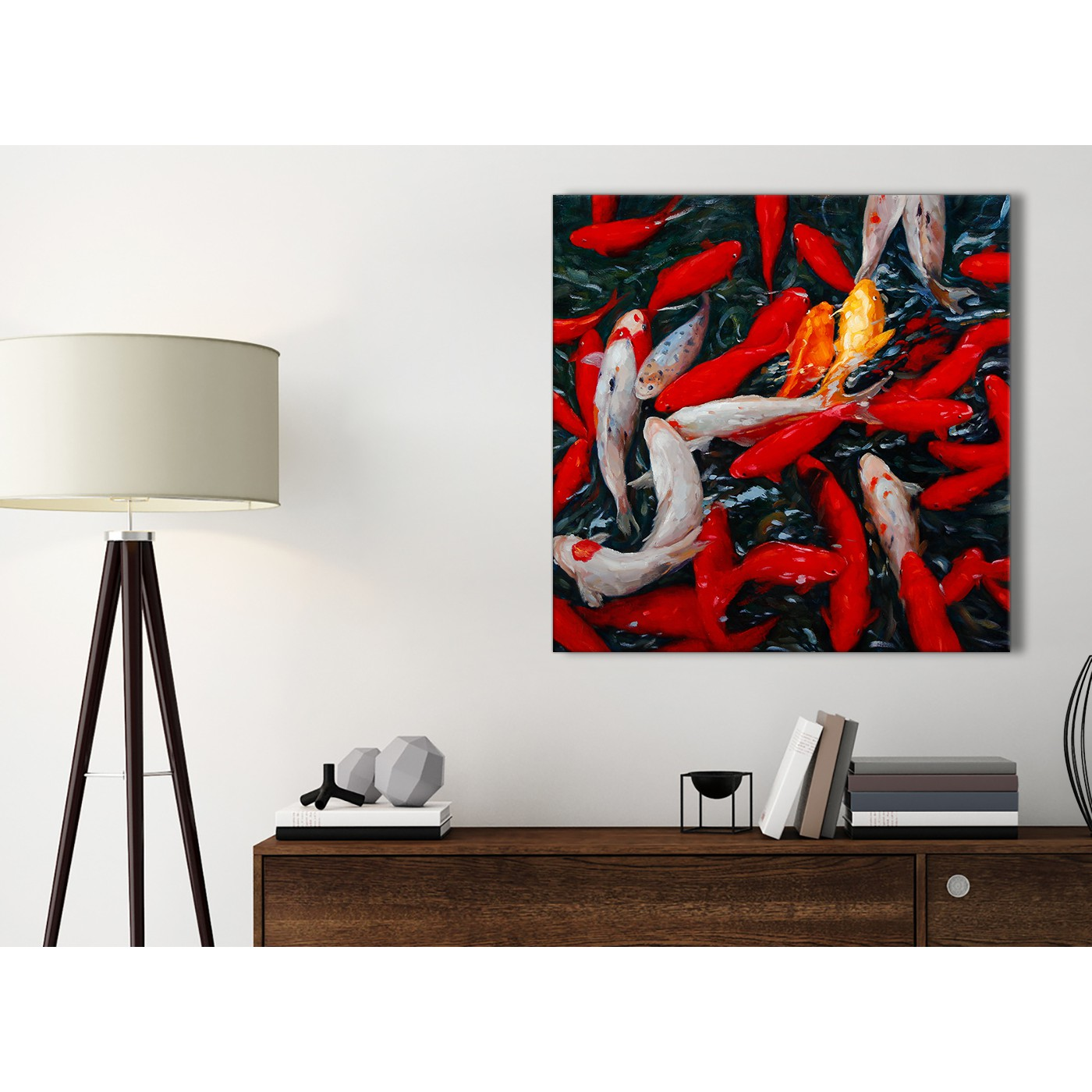 Canvas Pictures Koi Carp Fish Painting 1s439s Red Orange