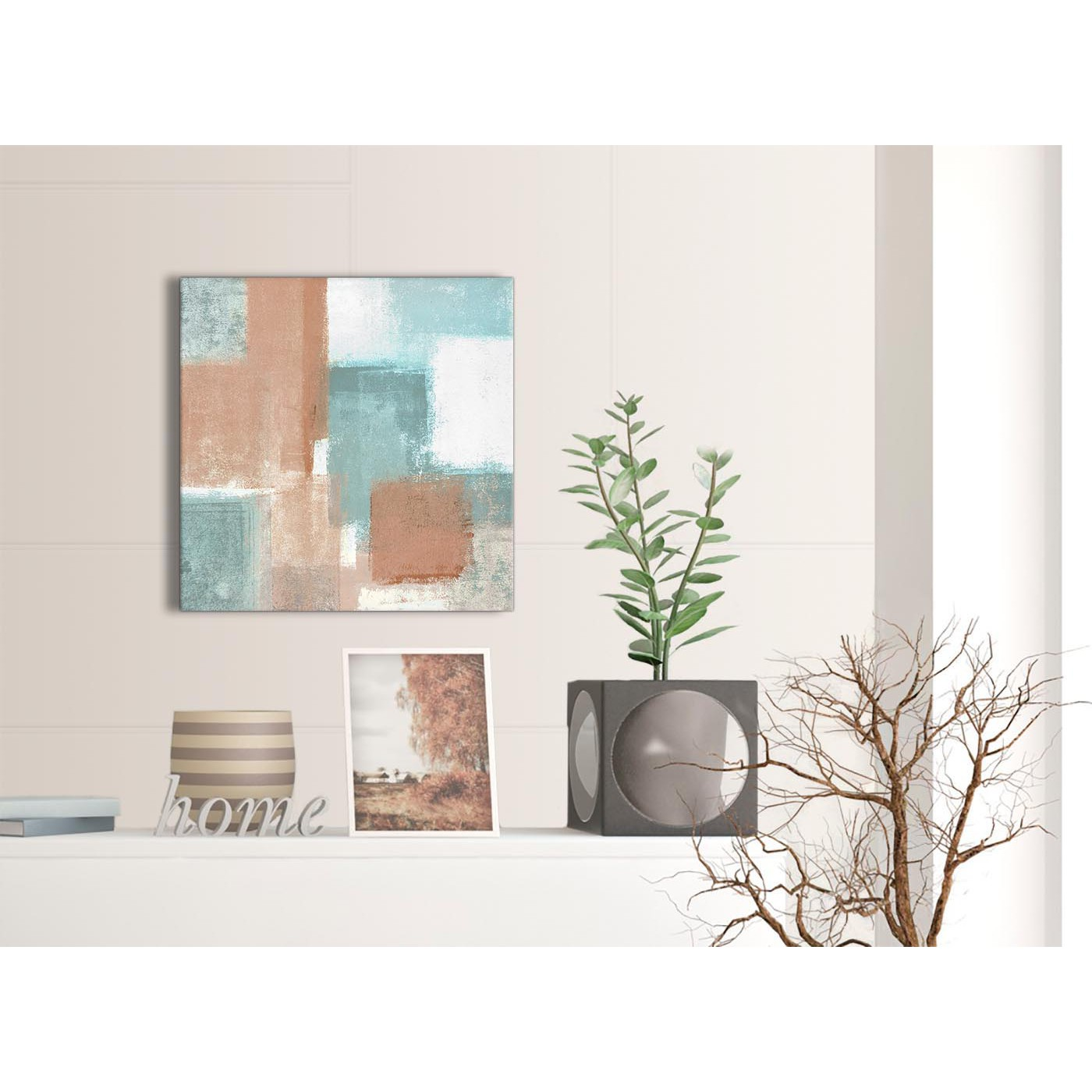 Coral Turquoise Kitchen Canvas Pictures Accessories Abstract 1s366s 49cm Square Print