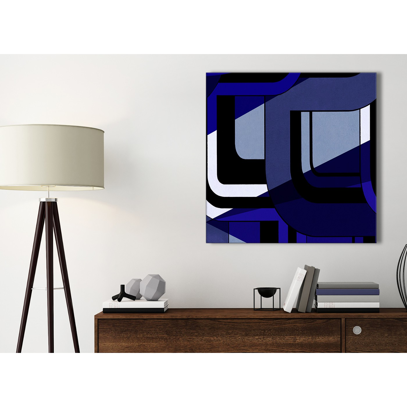 Indigo Navy Blue Painting Bathroom Canvas Pictures Accessories