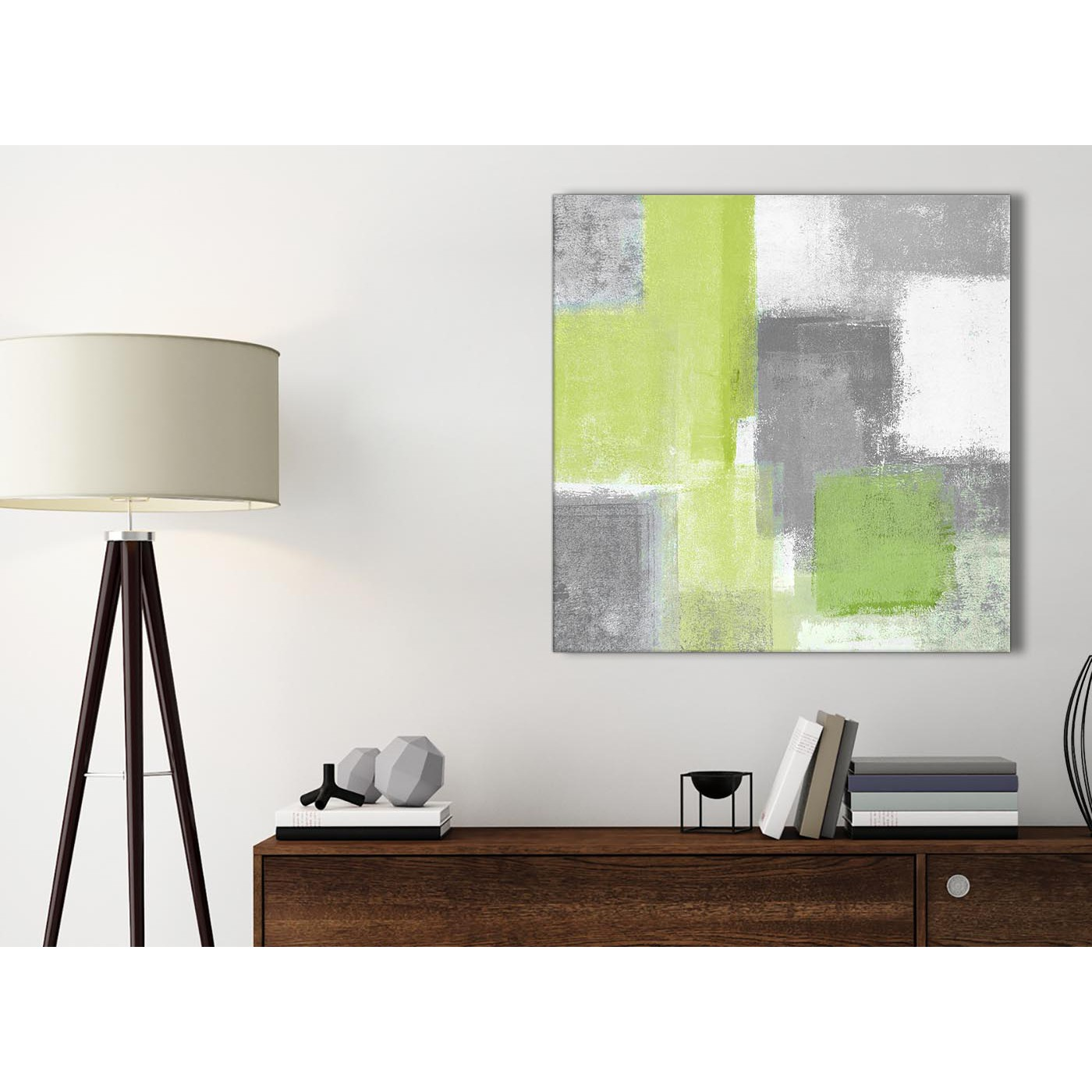 Lime Green Grey Bathroom Canvas Pictures Accessories Abstract 1s369s 49cm Square Print