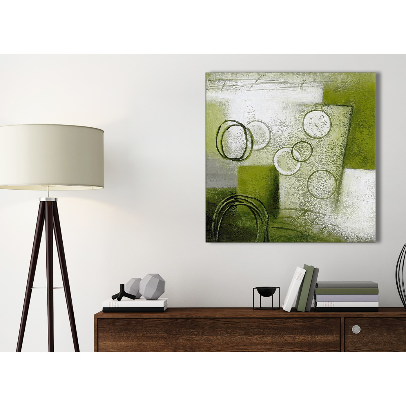 Lime Green Painting Bathroom Canvas Pictures Accessories - Abstract ...