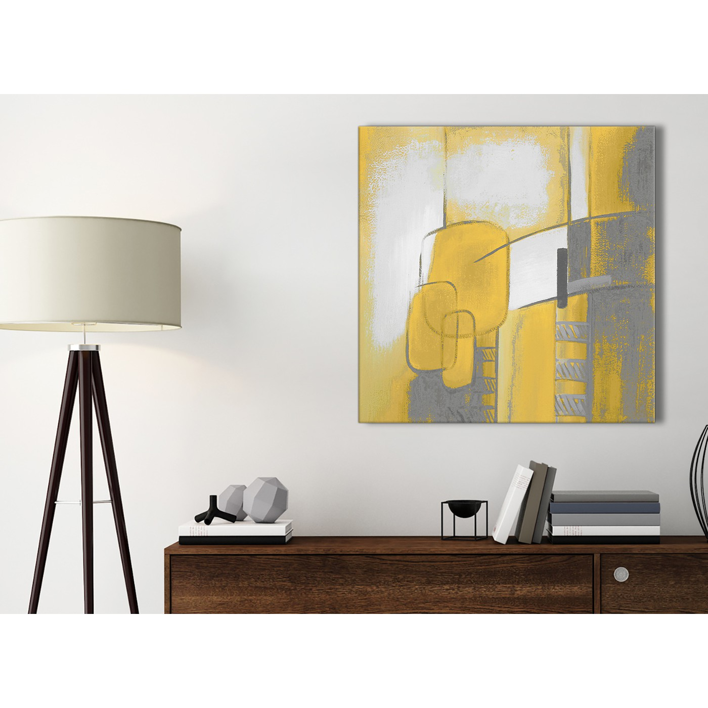 Mustard Yellow Grey Painting Kitchen Canvas Pictures Accessories Abstract 1s419s 49cm Square