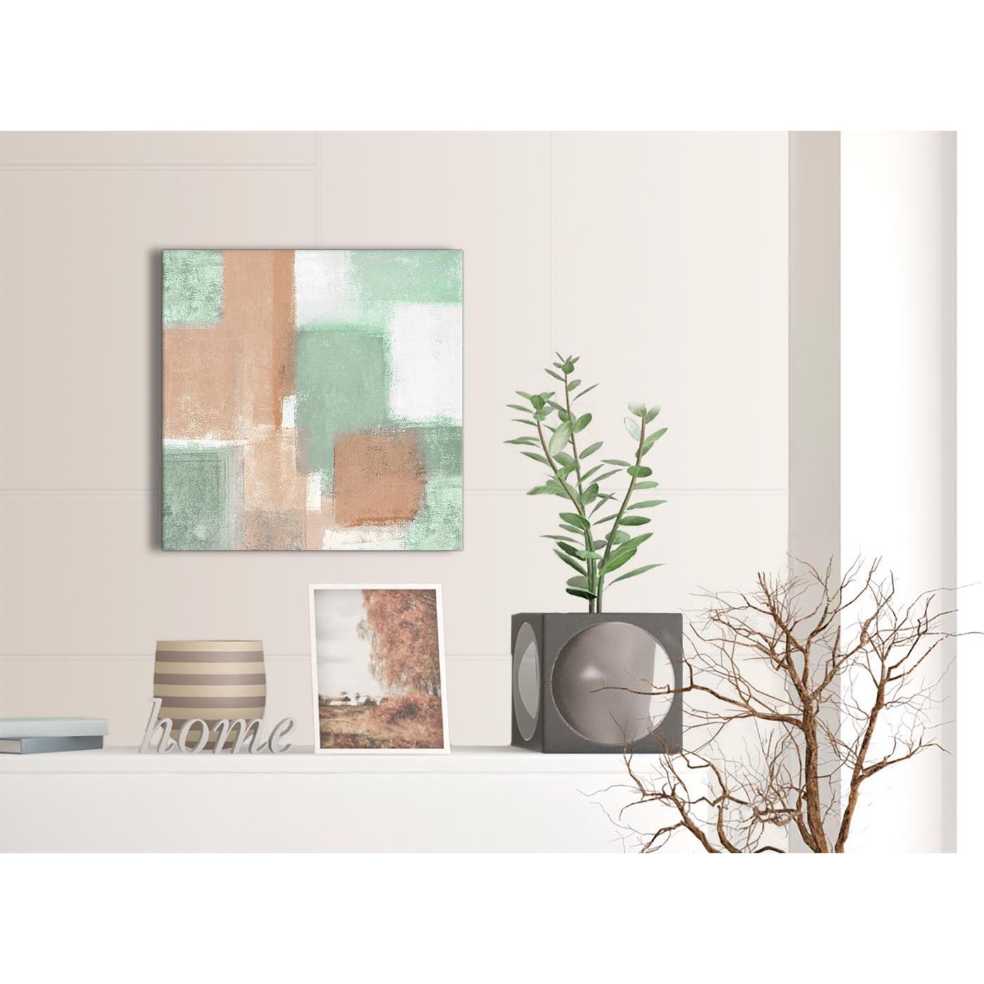 Peach mint green bathroom canvas wall art accessories for Mint green home accessories