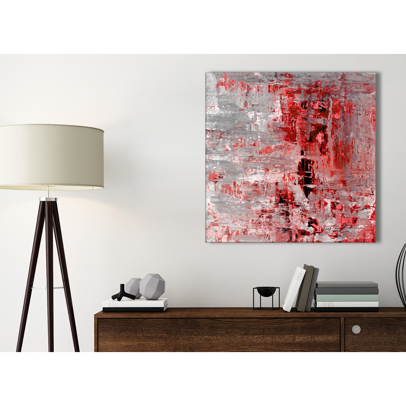 Red Grey Painting Kitchen Canvas Pictures Accessories - Abstract ...